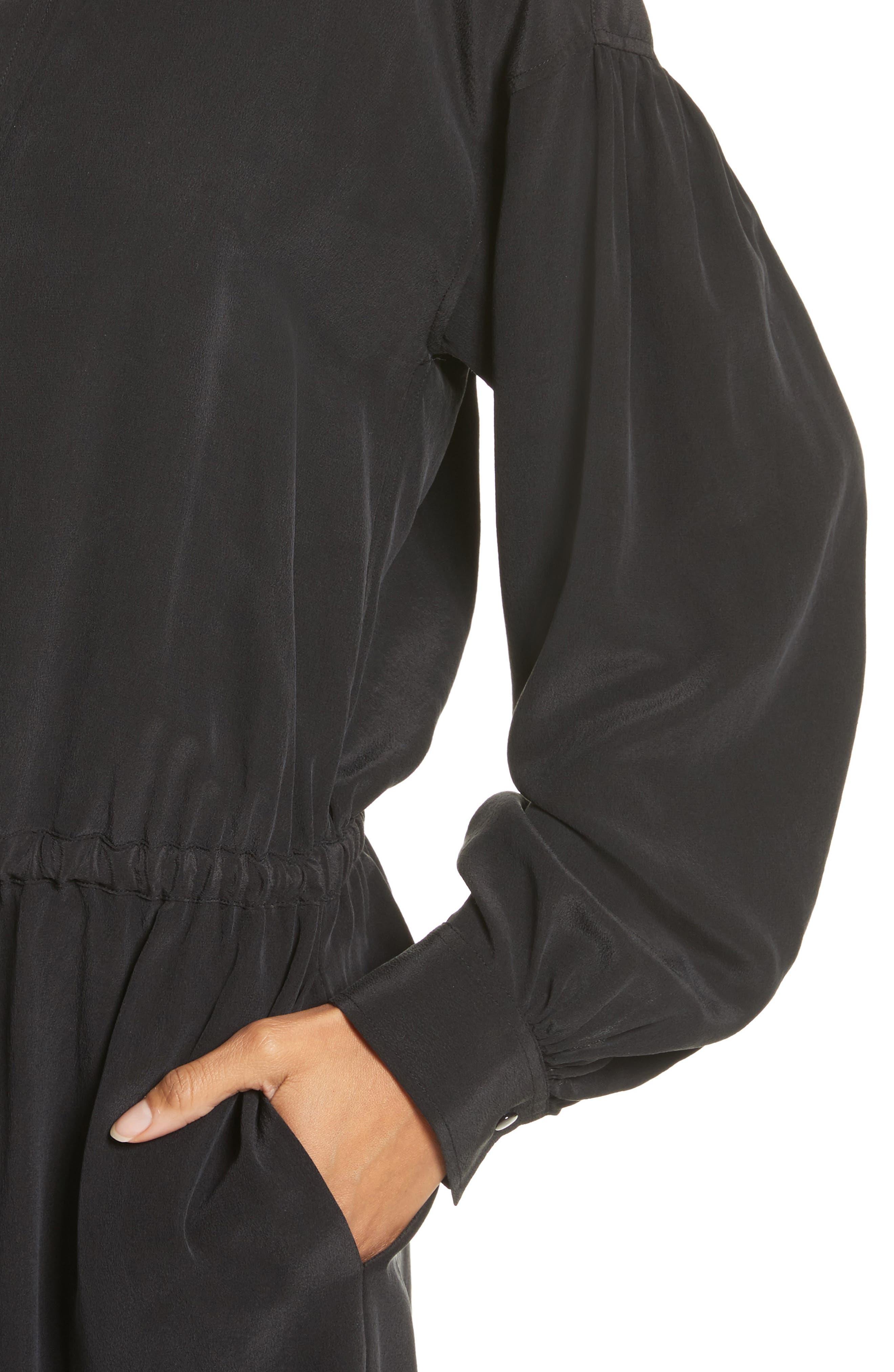 Shirred Sleeve Silk Dress,                             Alternate thumbnail 4, color,                             Black