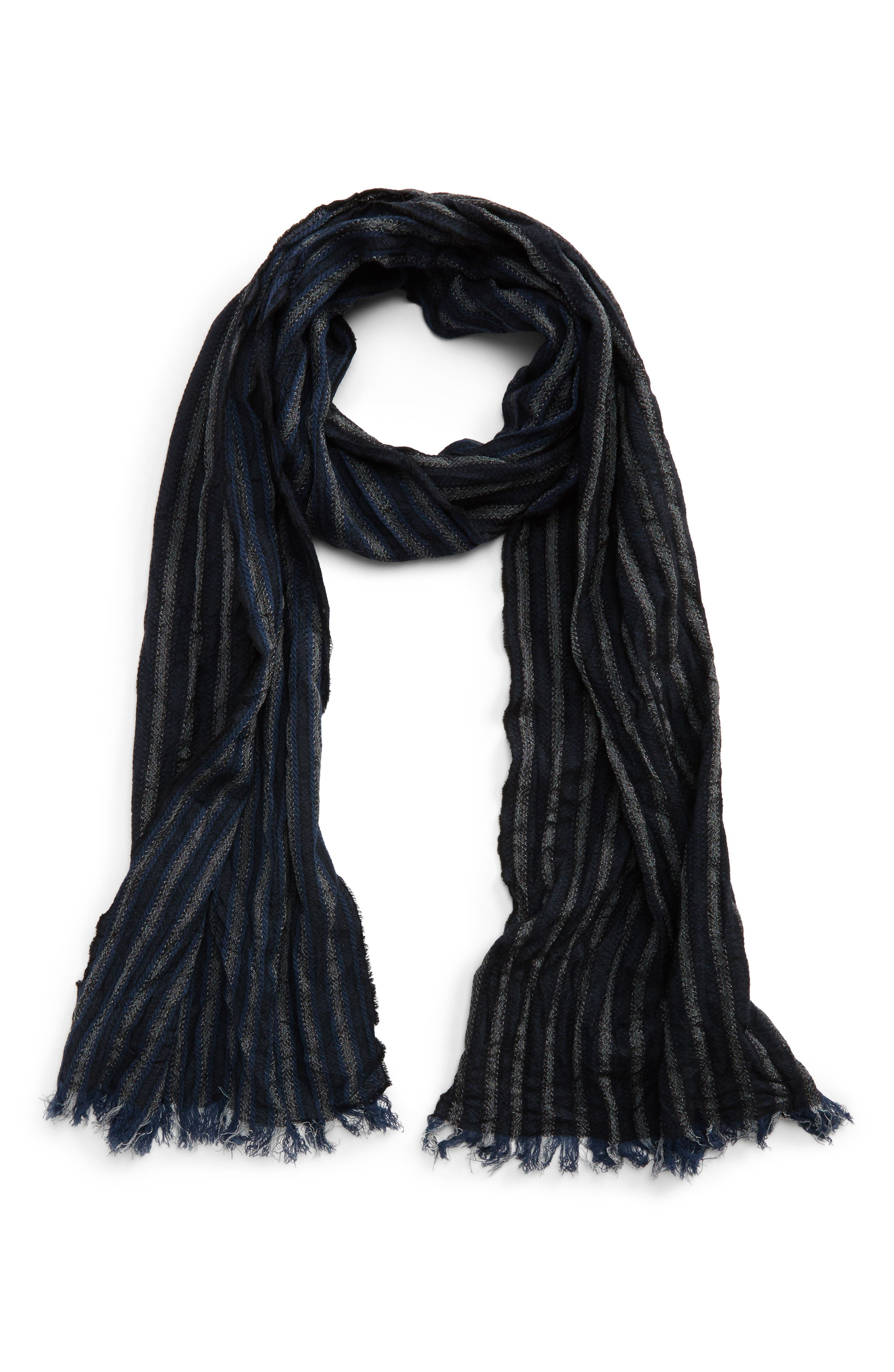 Crinkle Stripe Wool Scarf,                             Main thumbnail 1, color,                             Midnight Navy
