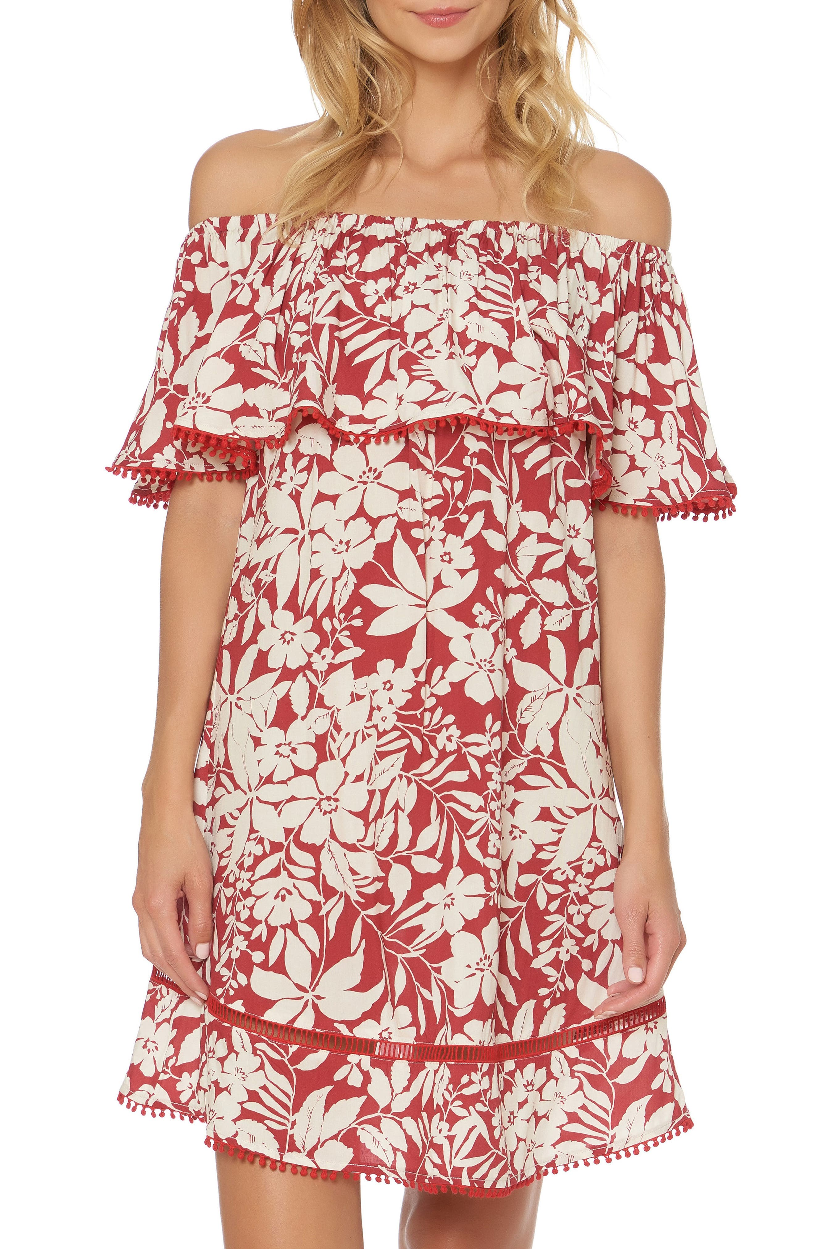 Off the Shoulder Cover-Up Dress,                         Main,                         color, Ruby