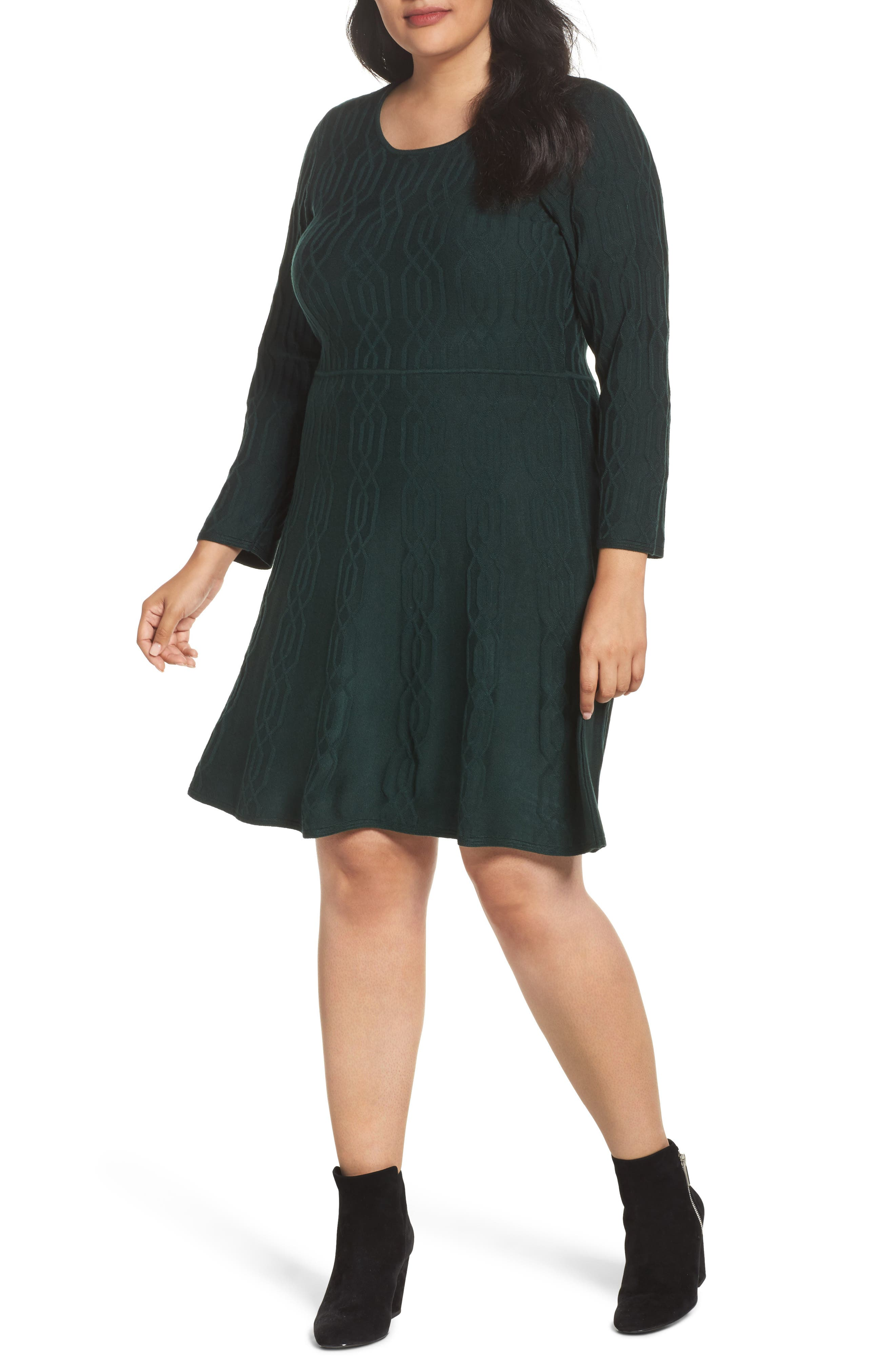 Jacquard Knit Fit & Flare Dress,                         Main,                         color, Green