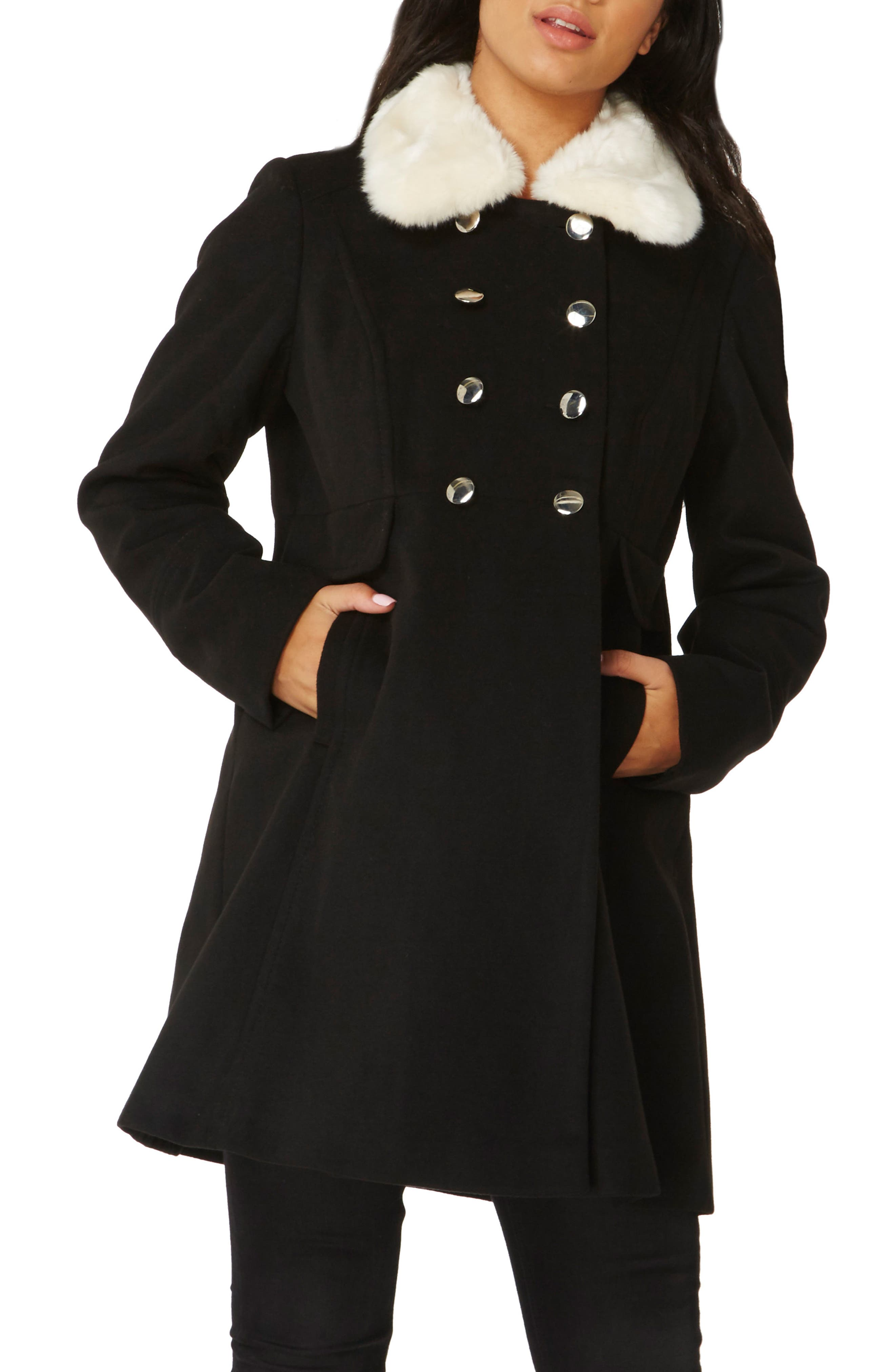 Fit & Flare Peacoat with Removable Faux Fur Trim,                         Main,                         color, Black