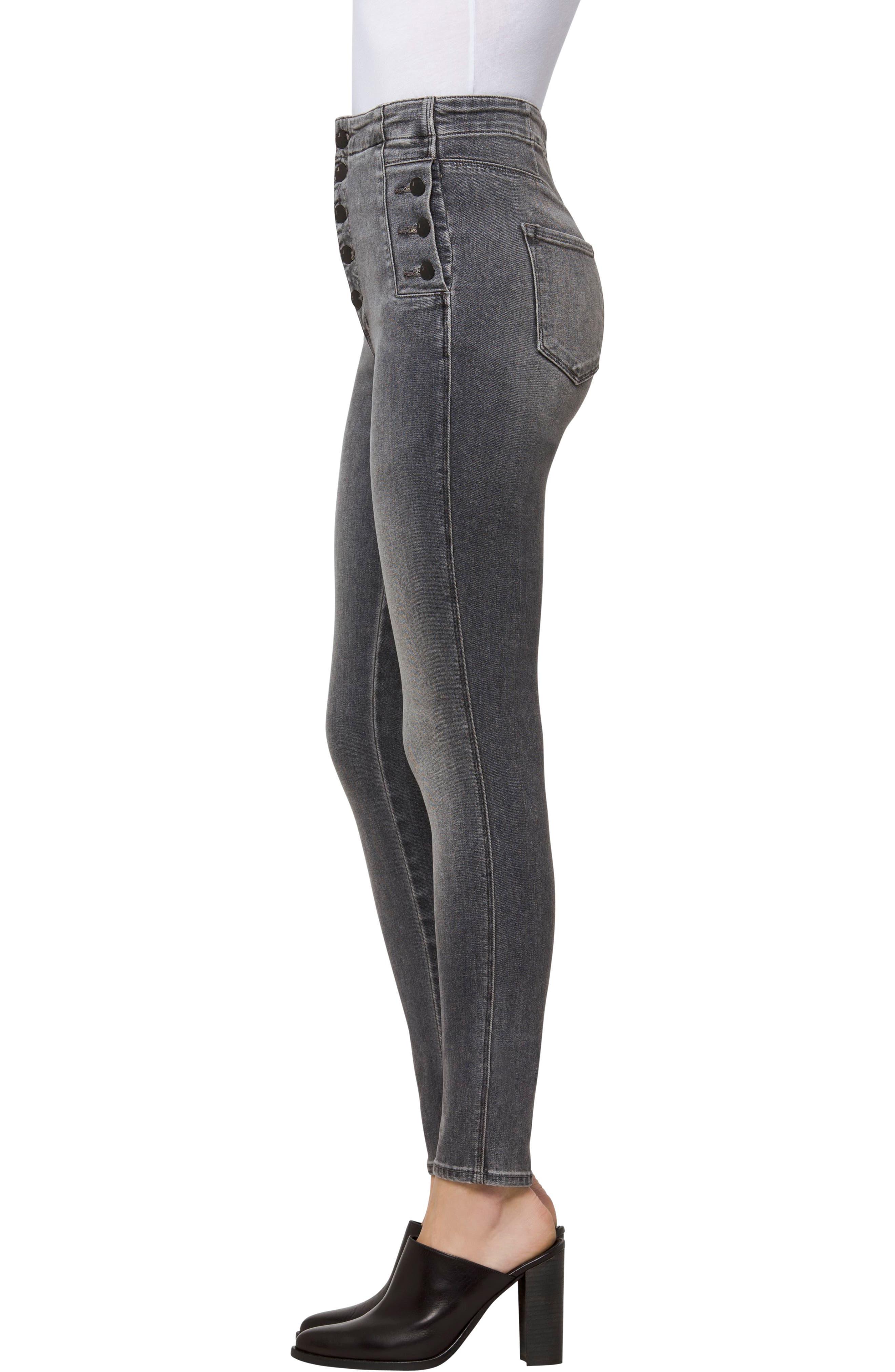 Alternate Image 3  - J Brand Natasha Sky High Button Skinny Jeans (Earl Grey)
