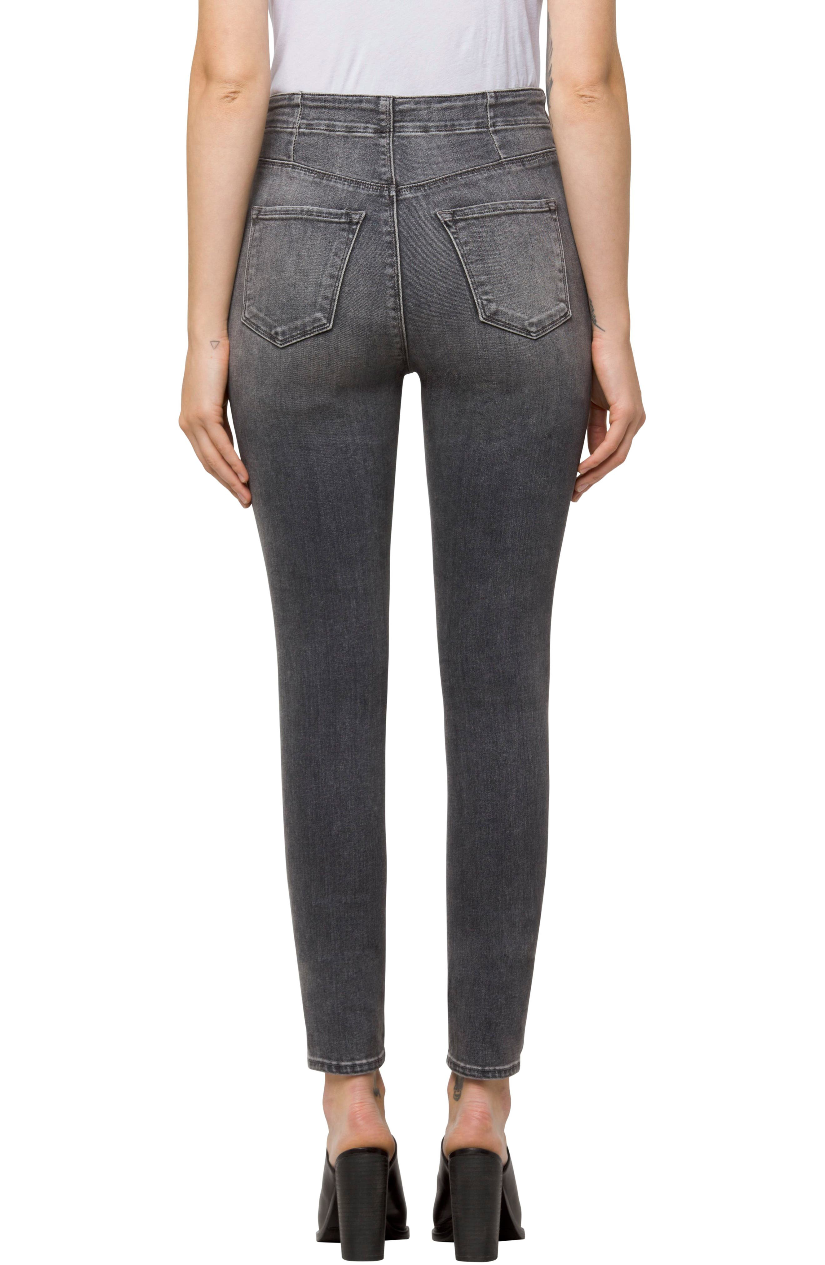 Alternate Image 2  - J Brand Natasha Sky High Button Skinny Jeans (Earl Grey)