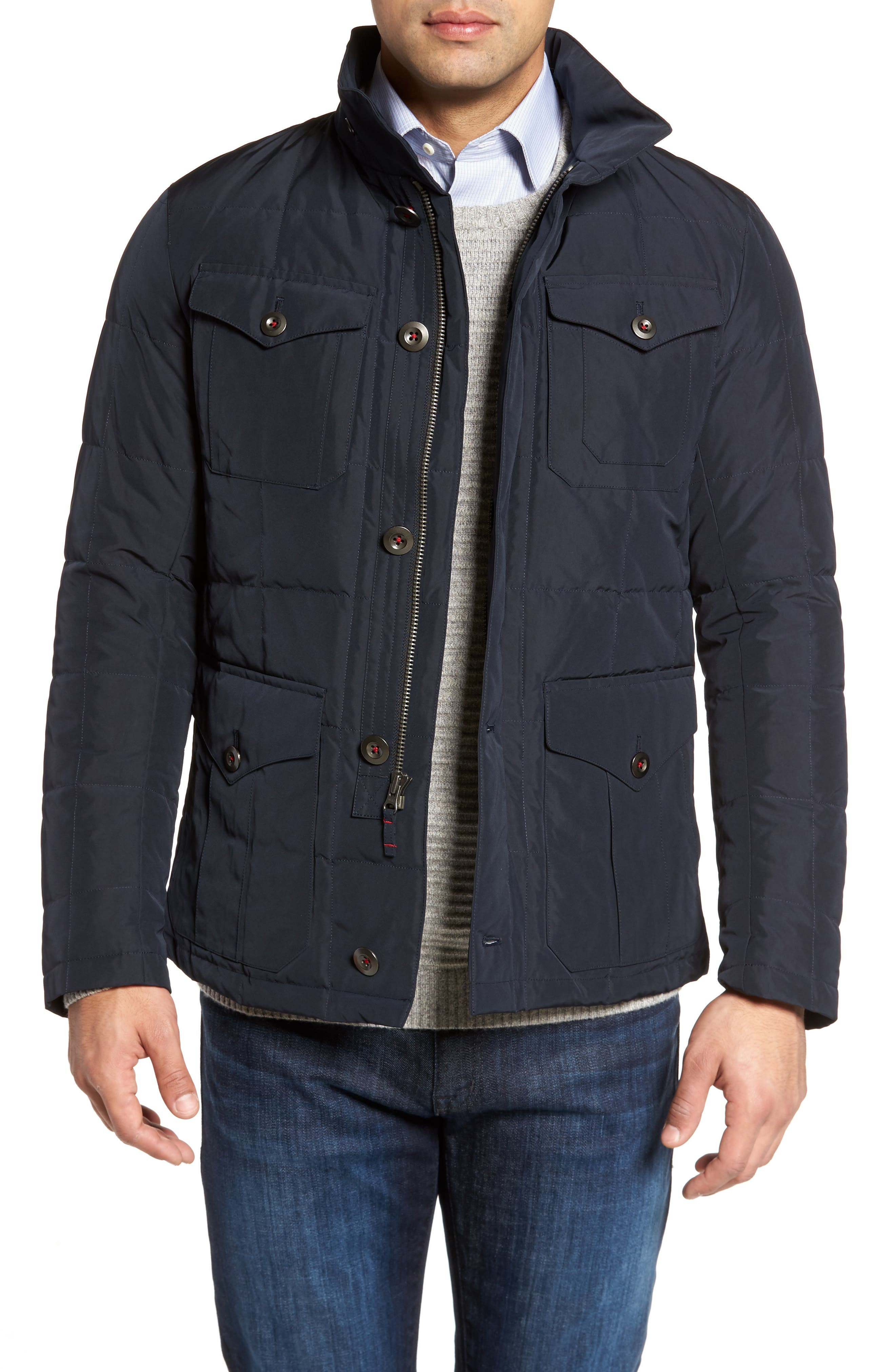 Quilted Down Field Jacket with Stowaway Hood,                         Main,                         color, Midnight
