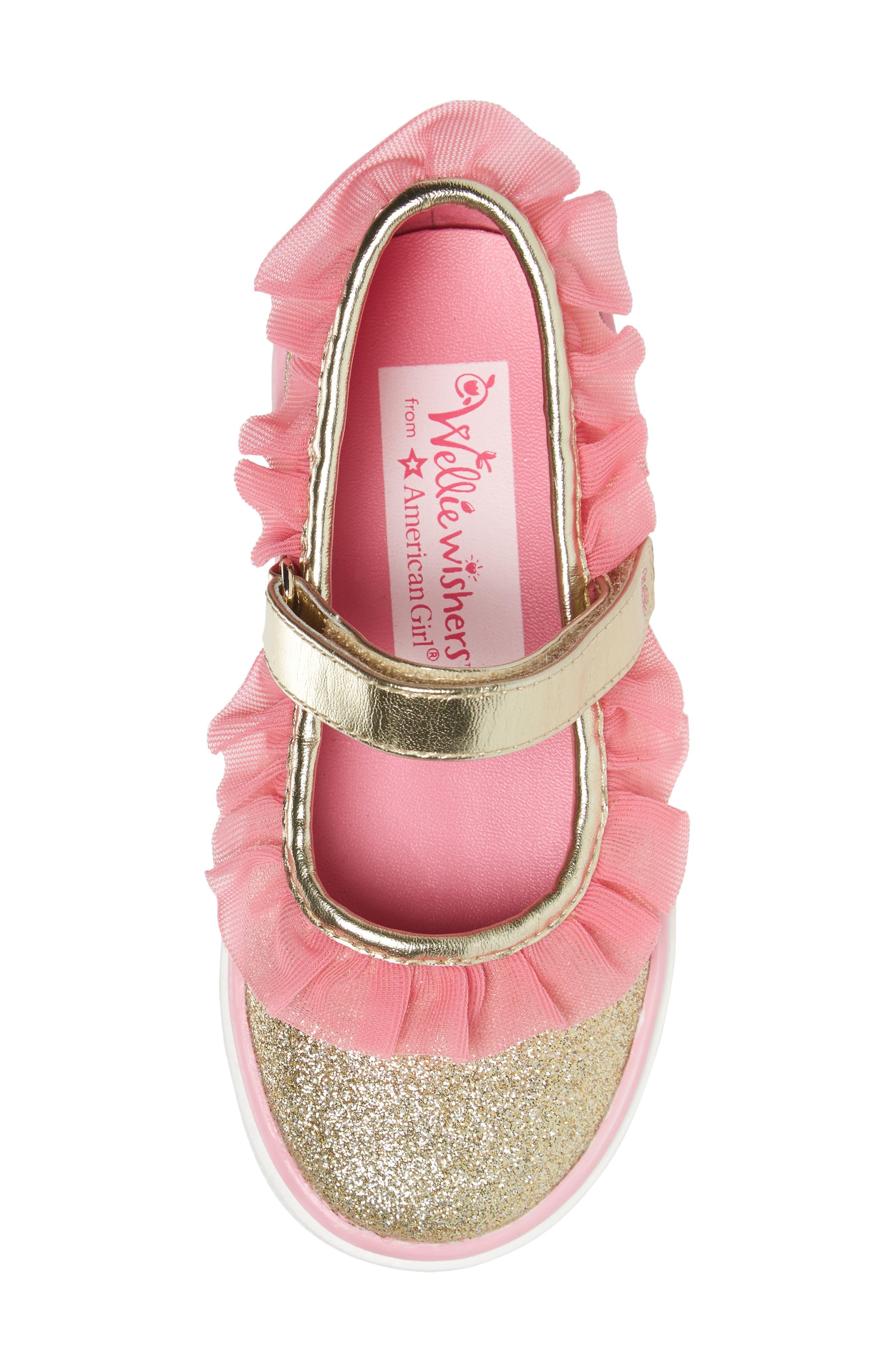 Ashlyn Tulle Mary Jane Sneaker,                             Alternate thumbnail 5, color,                             Gold