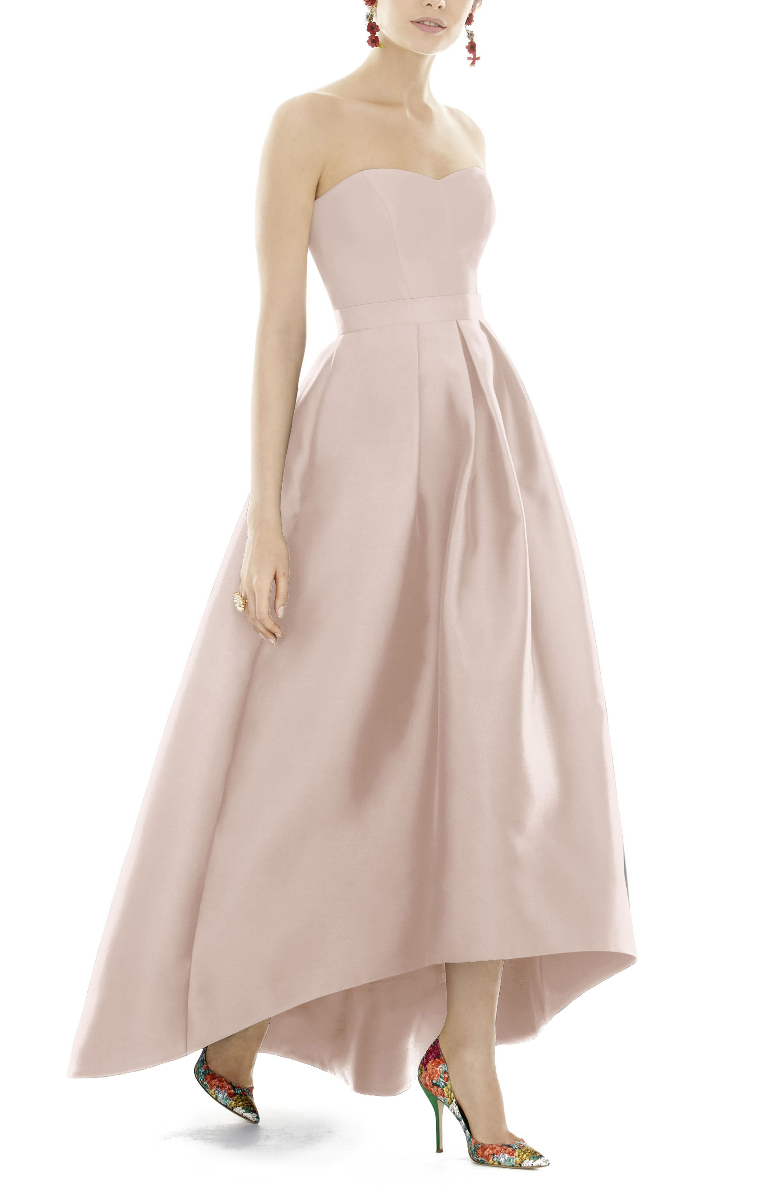 Strapless High/Low Sateen Twill Gown,                             Main thumbnail 1, color,                             Blush