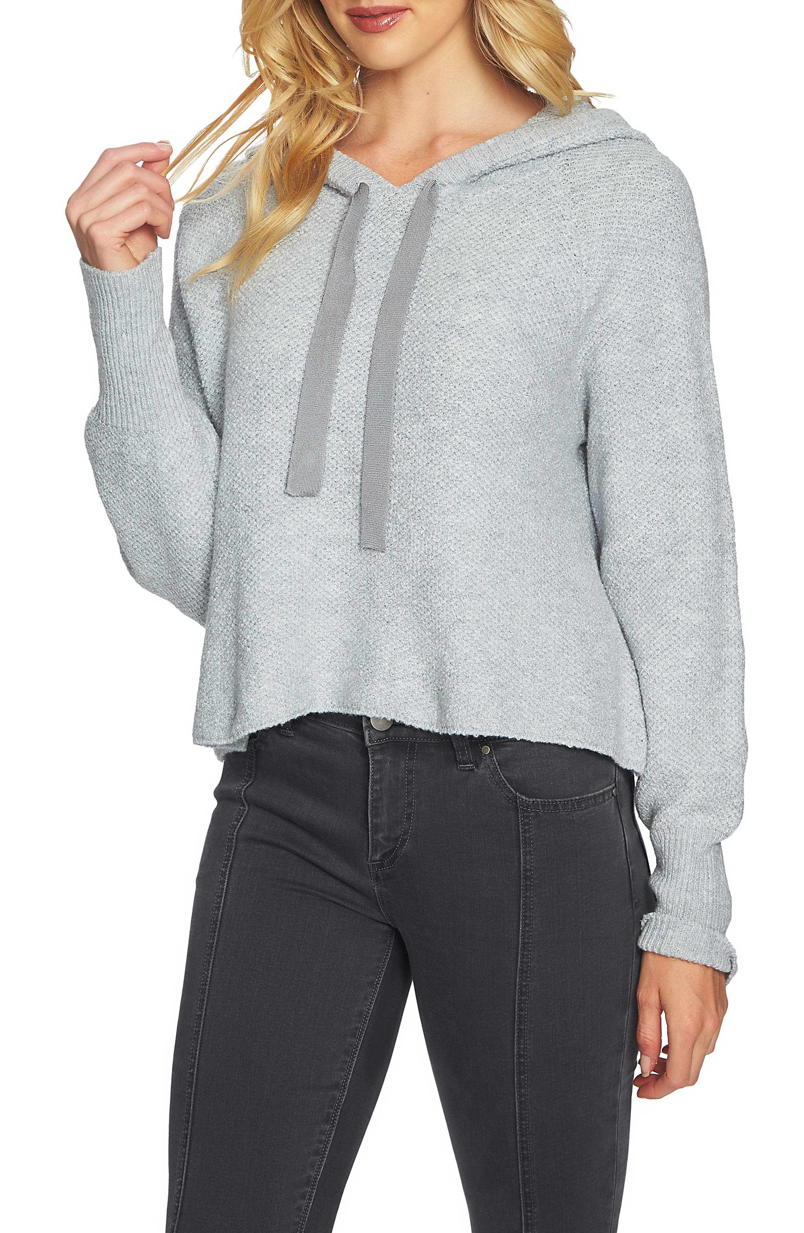 Crop Hoodie,                             Main thumbnail 1, color,                             Light Heather Grey