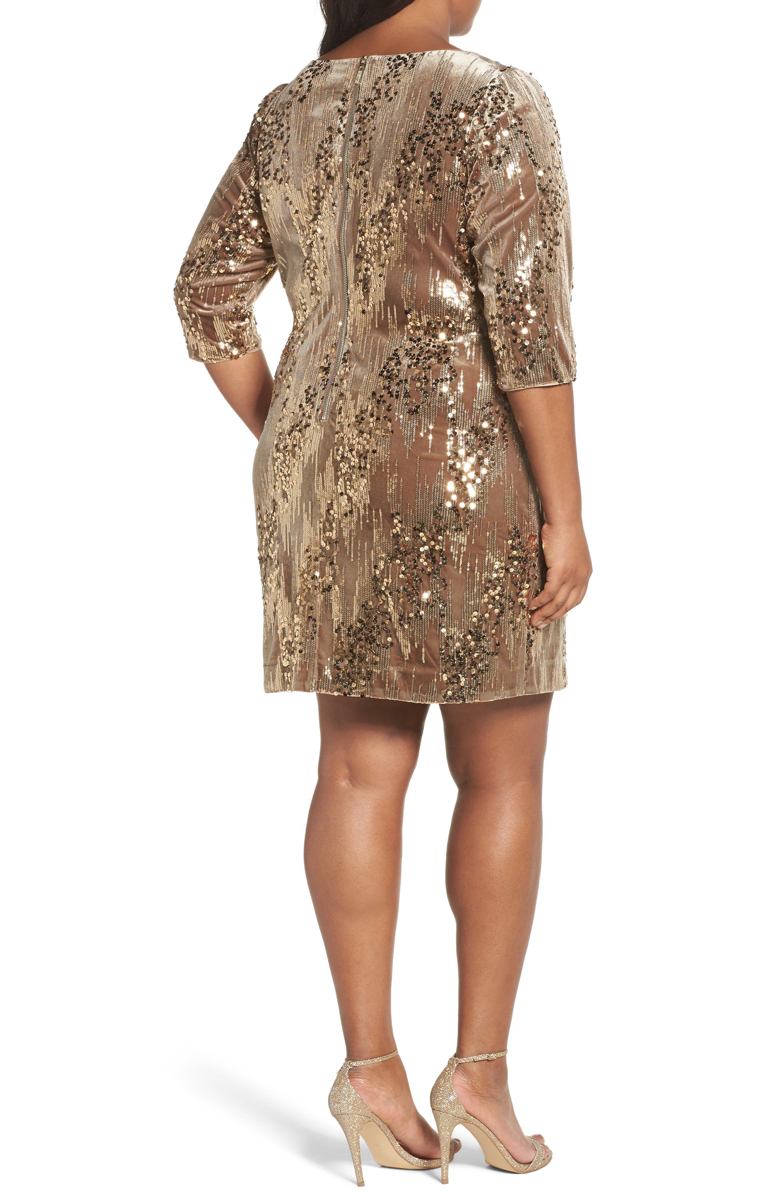 Sequin Sheath Dress,                             Alternate thumbnail 2, color,                             Tan