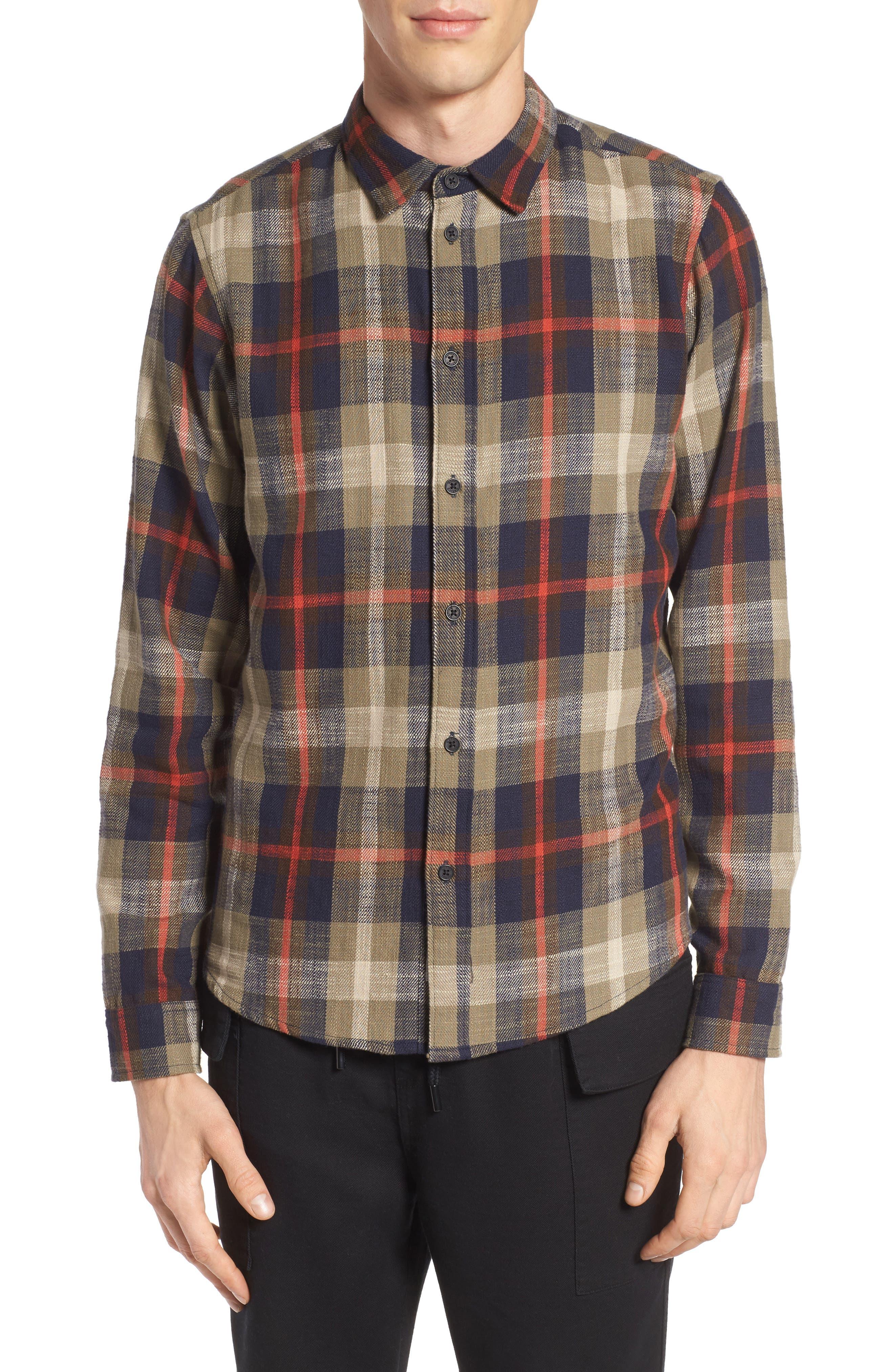 Brae Plaid Flannel Shirt,                         Main,                         color, Green Check