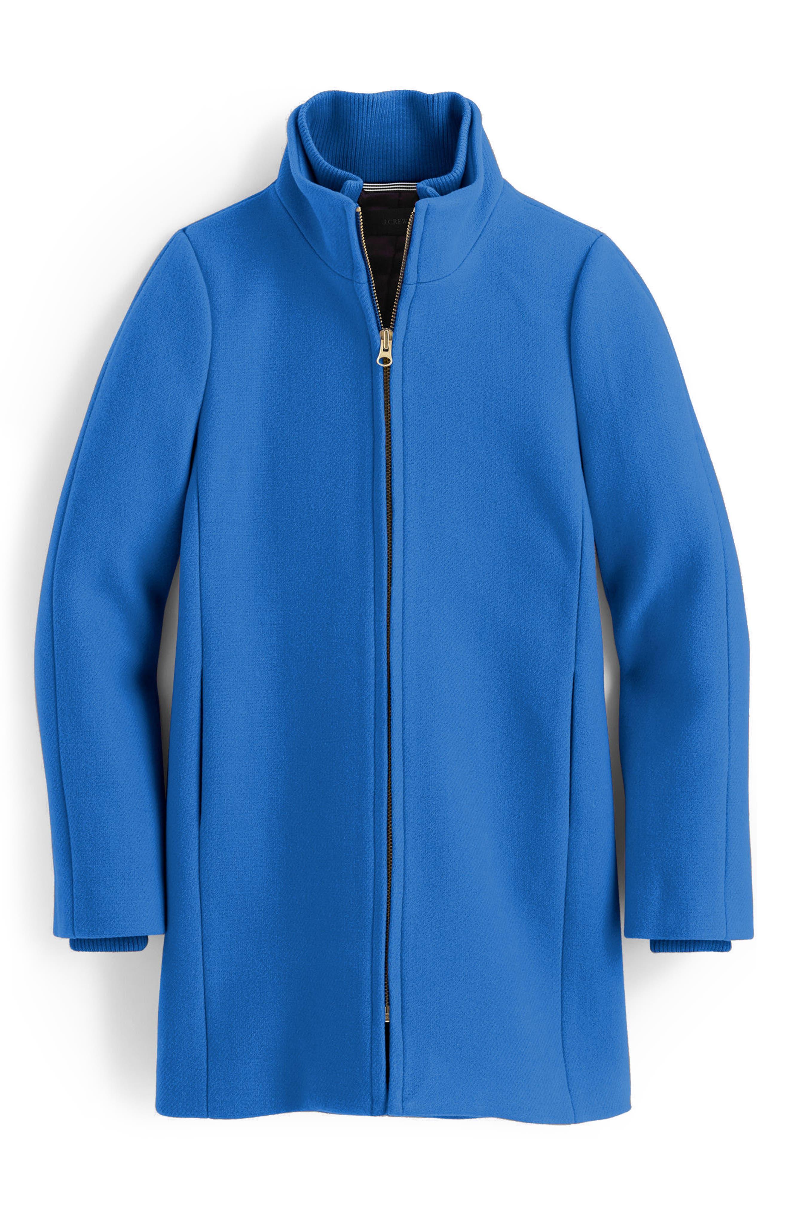 J.Crew Yulia Wool Blend Coat,                             Main thumbnail 1, color,                             Bright Atlantic