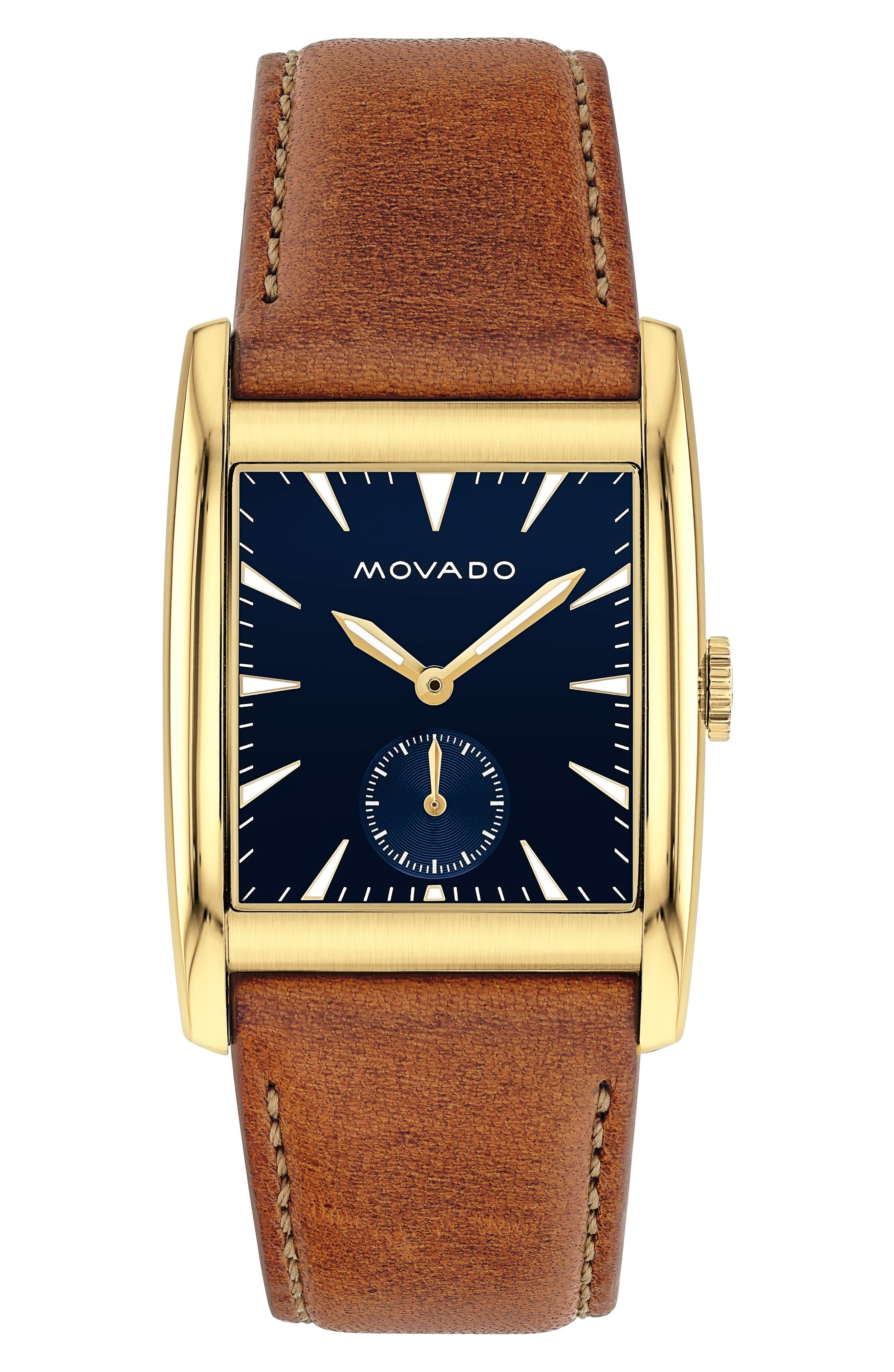 Heritage Leather Strap Watch, 41mm,                         Main,                         color, Cognac/ Blue/ Gold