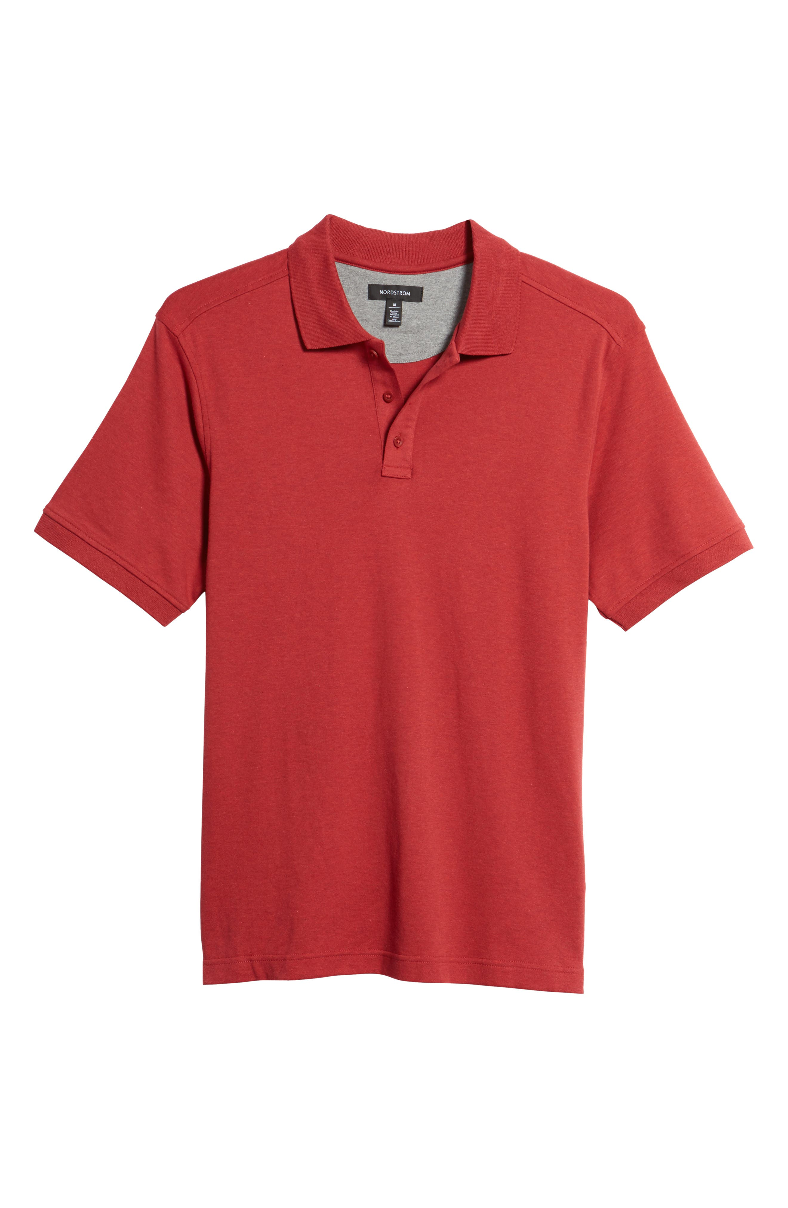 Regular Fit Interlock Knit Polo,                             Main thumbnail 1, color,                             Red Rosewood Heather