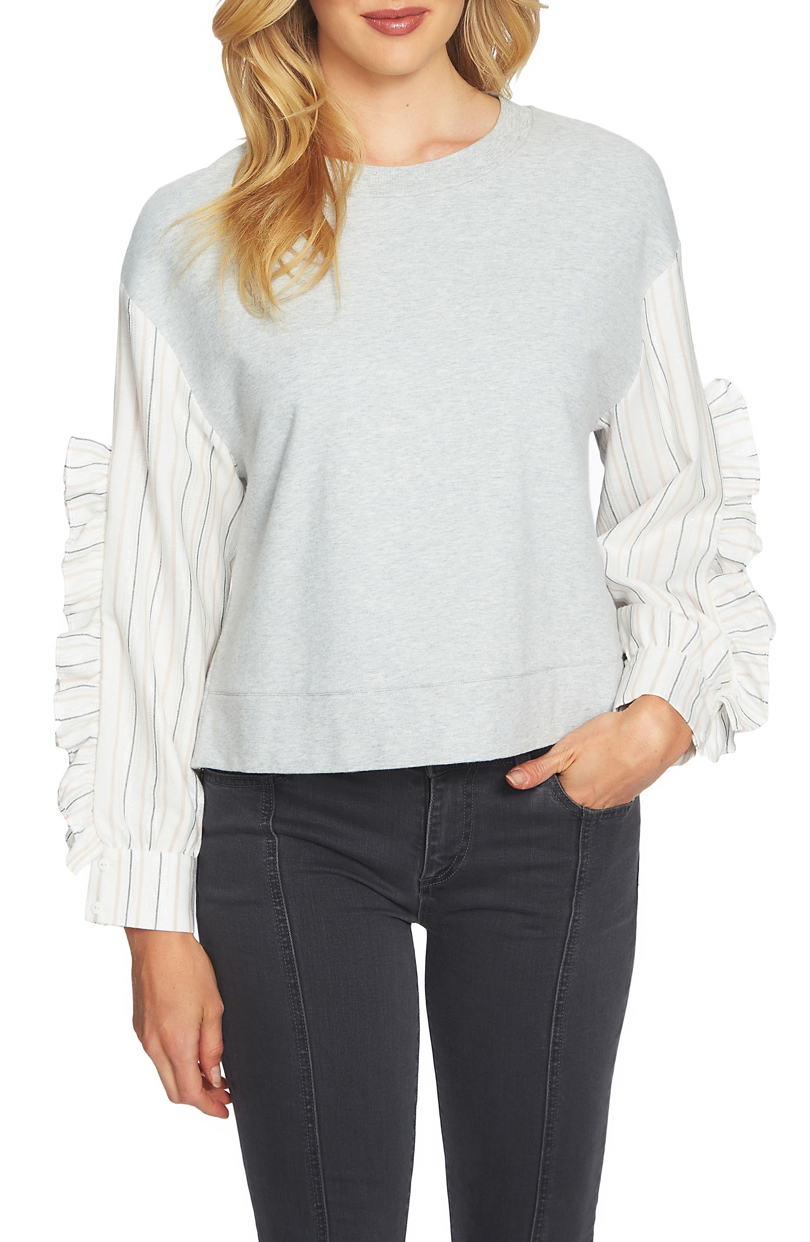 Stripe Ruffle Sleeve Sweater,                         Main,                         color, Grey Heather