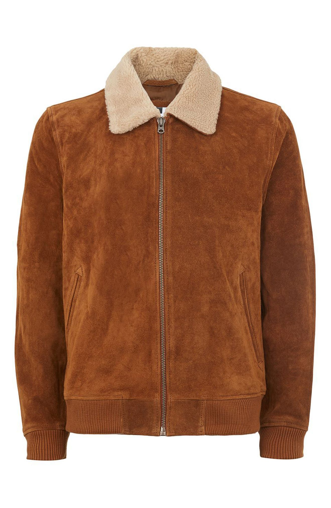 Borg Collar Suede Jacket,                             Alternate thumbnail 4, color,                             Brown