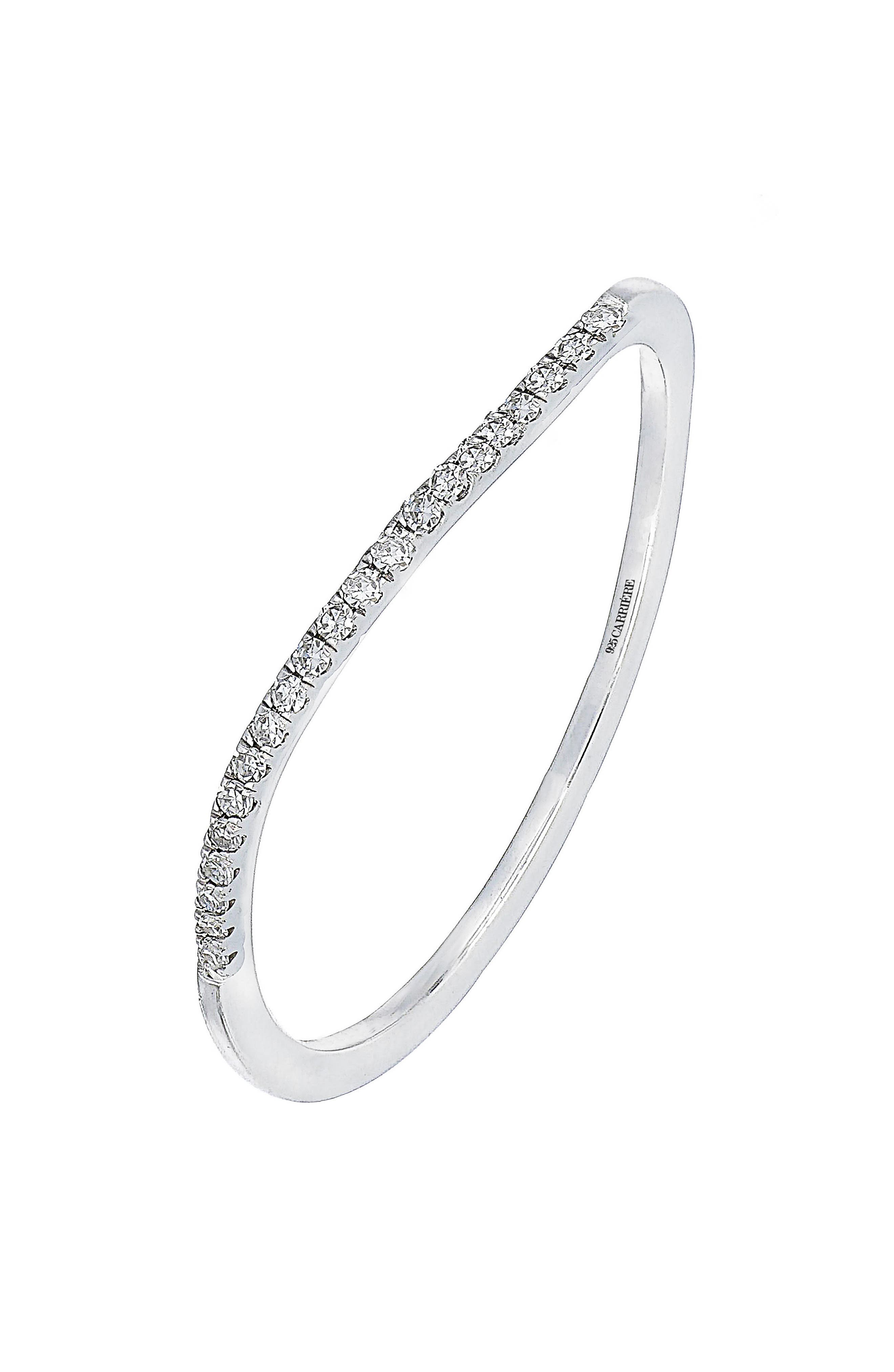 Carrière Diamond Stacking Ring,                         Main,                         color, Silver/ Diamond