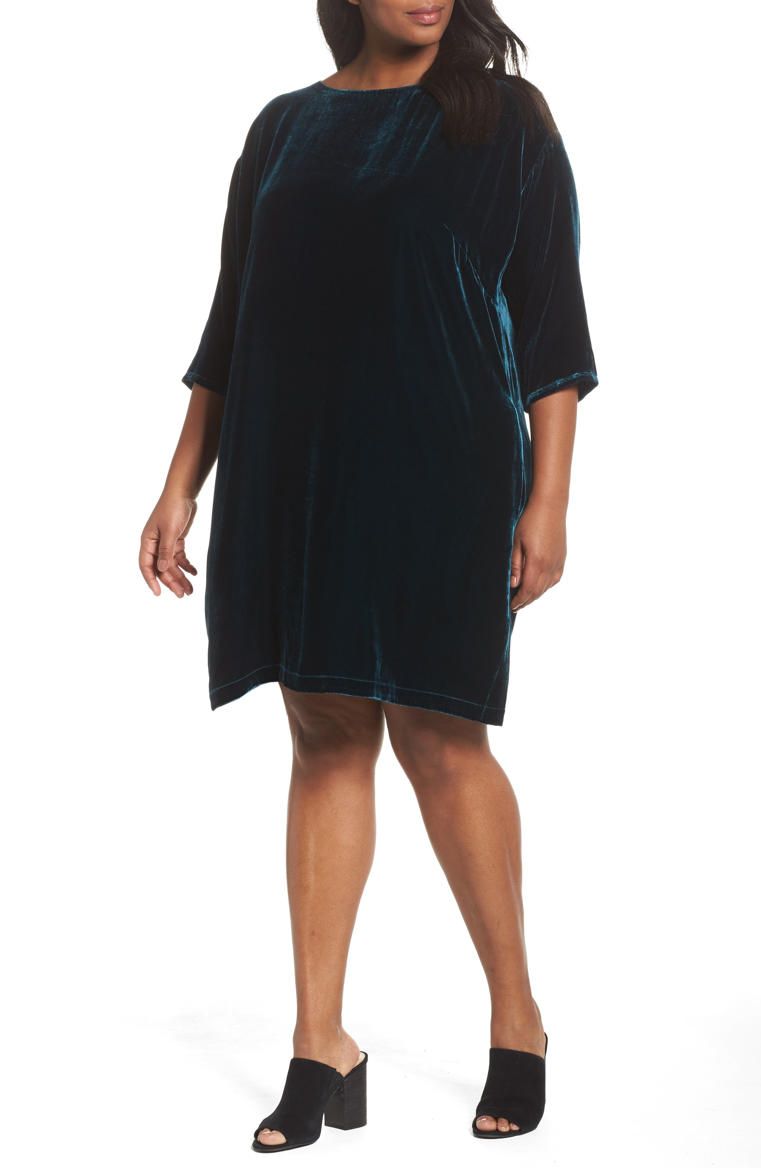 Eileen Fisher Velvet Shift Dress (Plus Size)