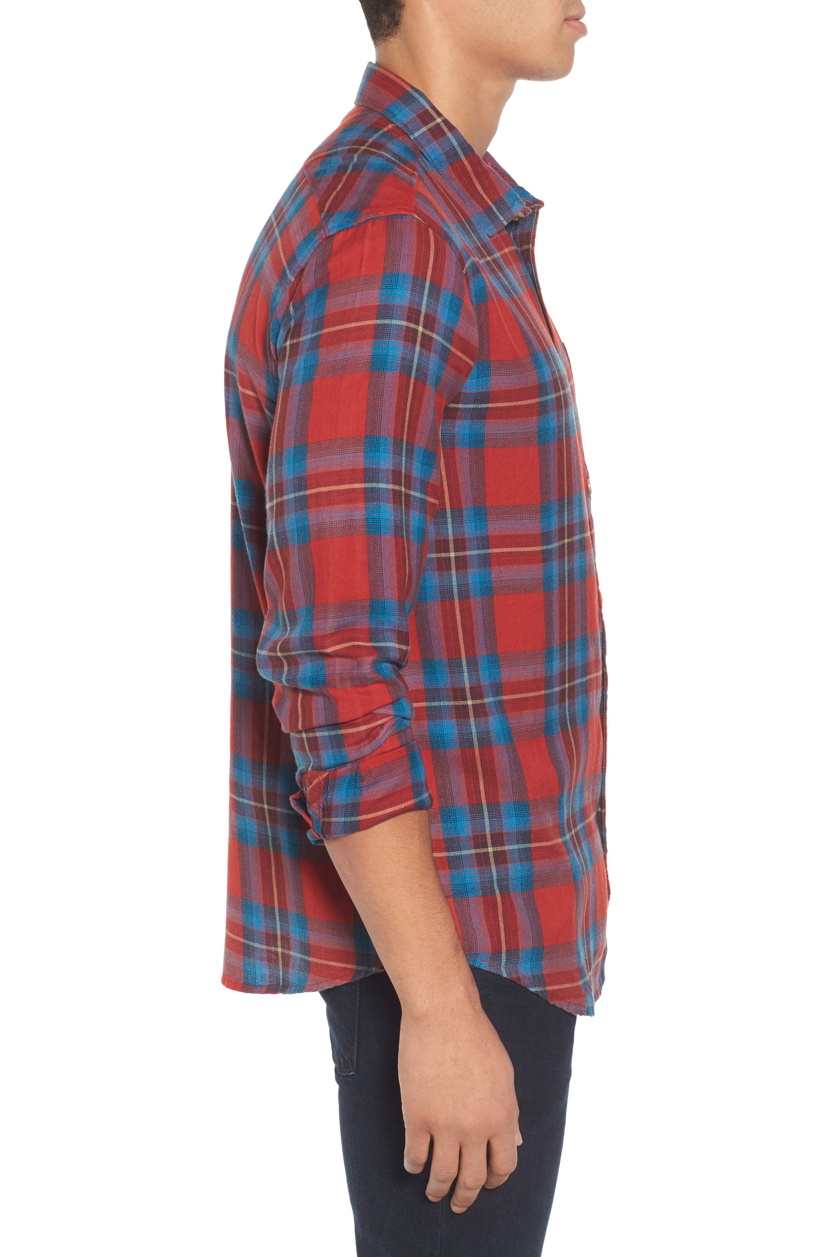 Freemont Flannel Shirt,                             Alternate thumbnail 3, color,                             Red