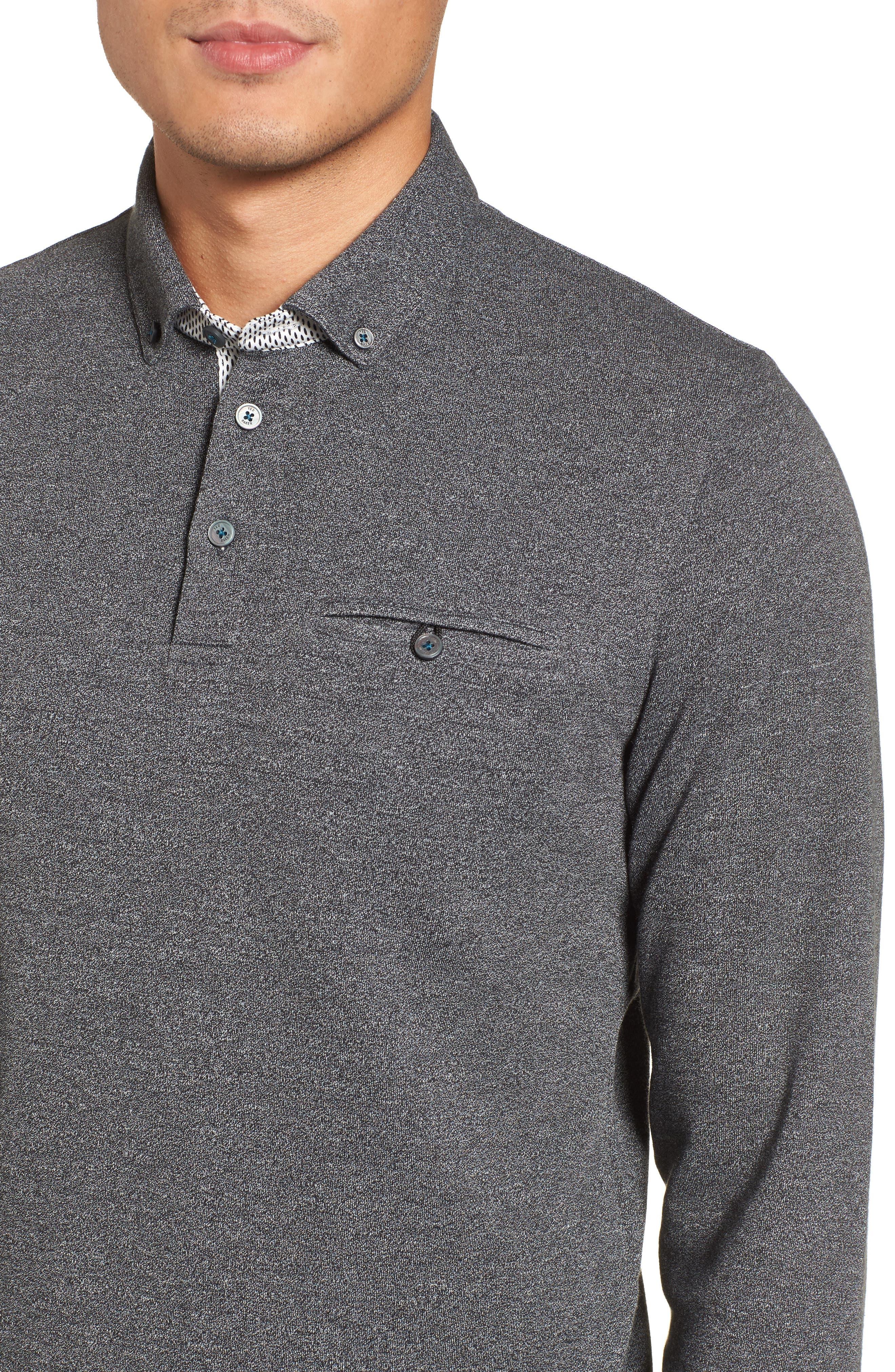 Yamway Modern Slim Fit Long Sleeve Polo,                             Alternate thumbnail 4, color,                             Black