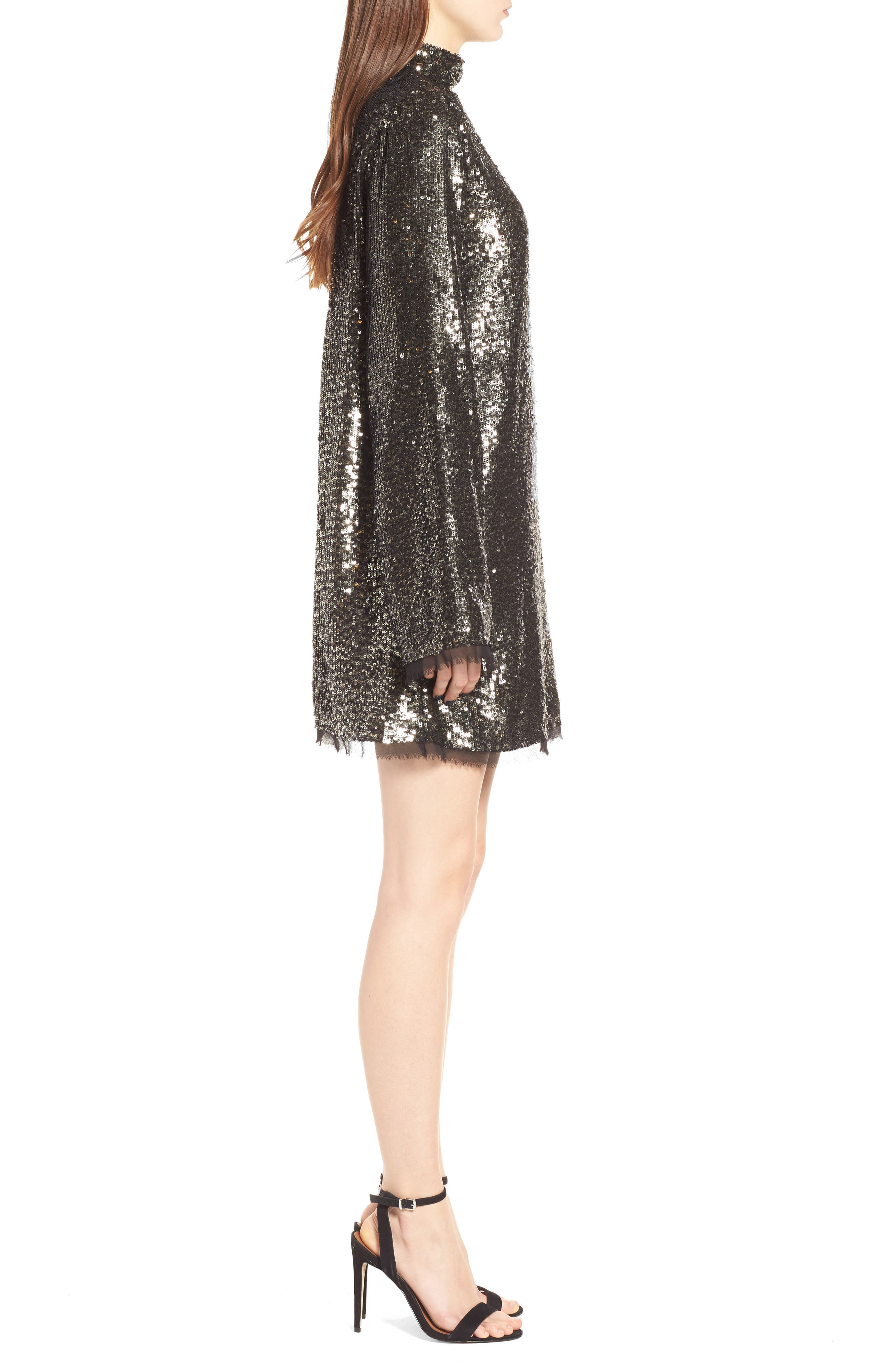 Sequin Shift Dress,                             Alternate thumbnail 3, color,                             Silver Multi