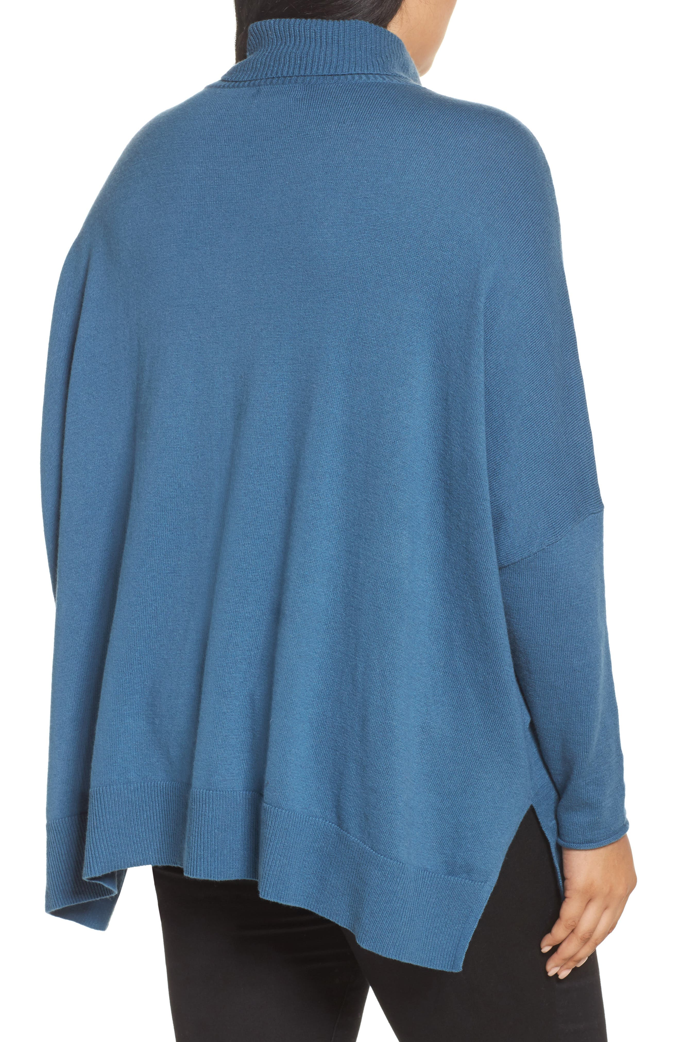 Relaxed Cotton & Cashmere Sweater,                             Alternate thumbnail 2, color,                             Teal Sound