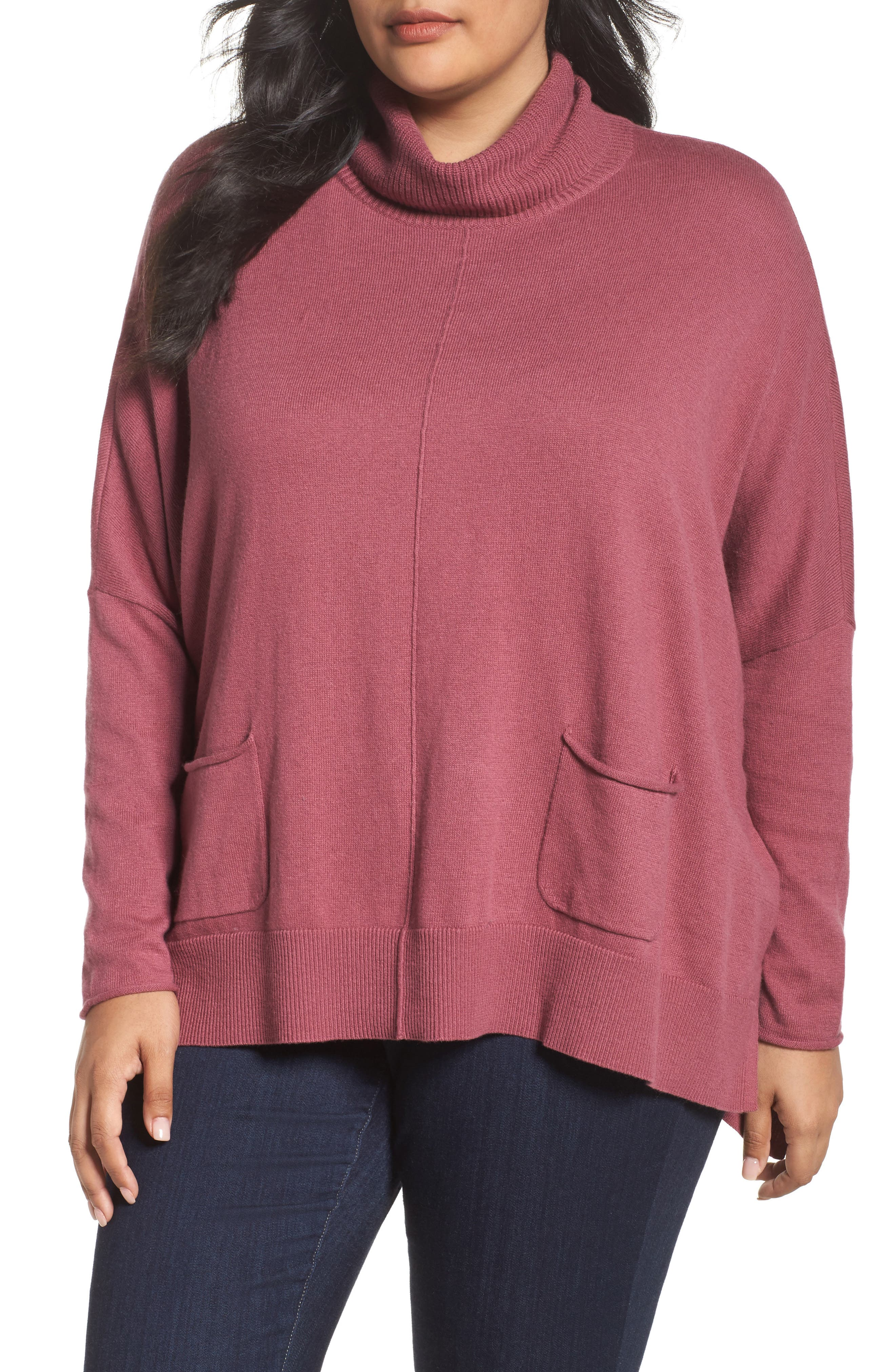 Caslon® Relaxed Cotton & Cashmere Sweater (Plus Size)