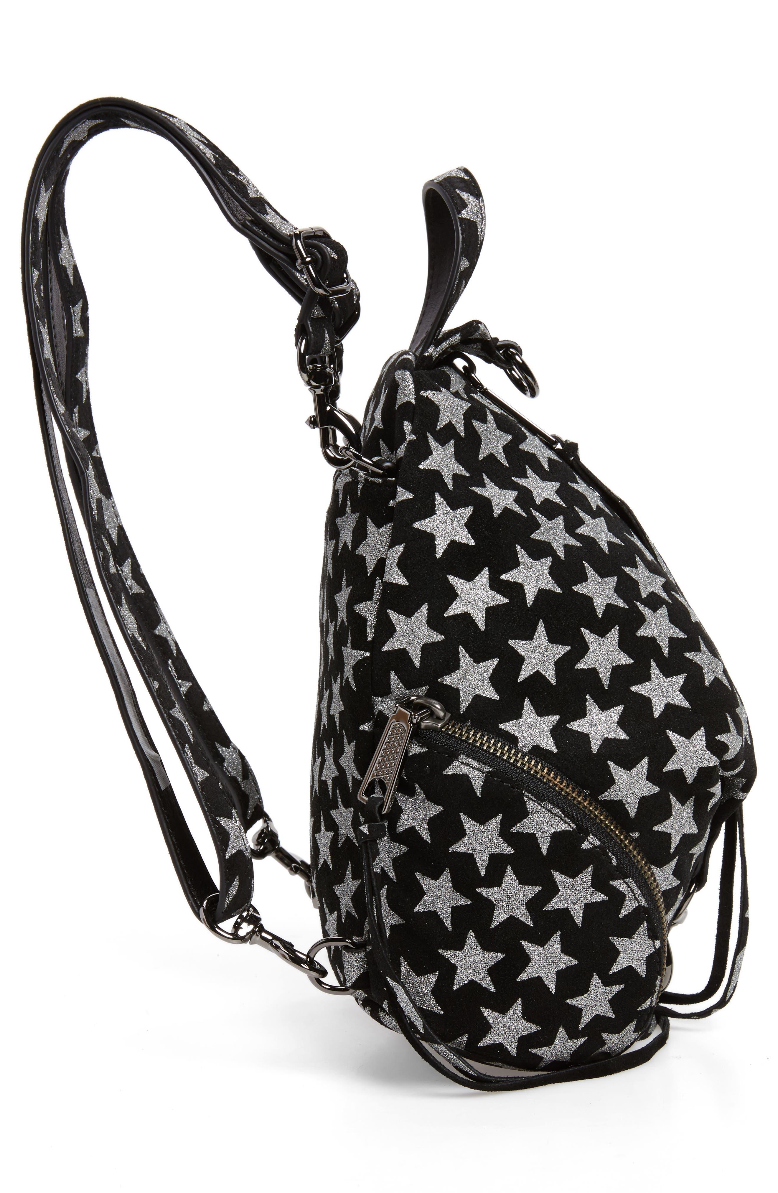 Mini Julian Metallic Star Nubuck Leather Convertible Backpack,                             Alternate thumbnail 5, color,                             Black
