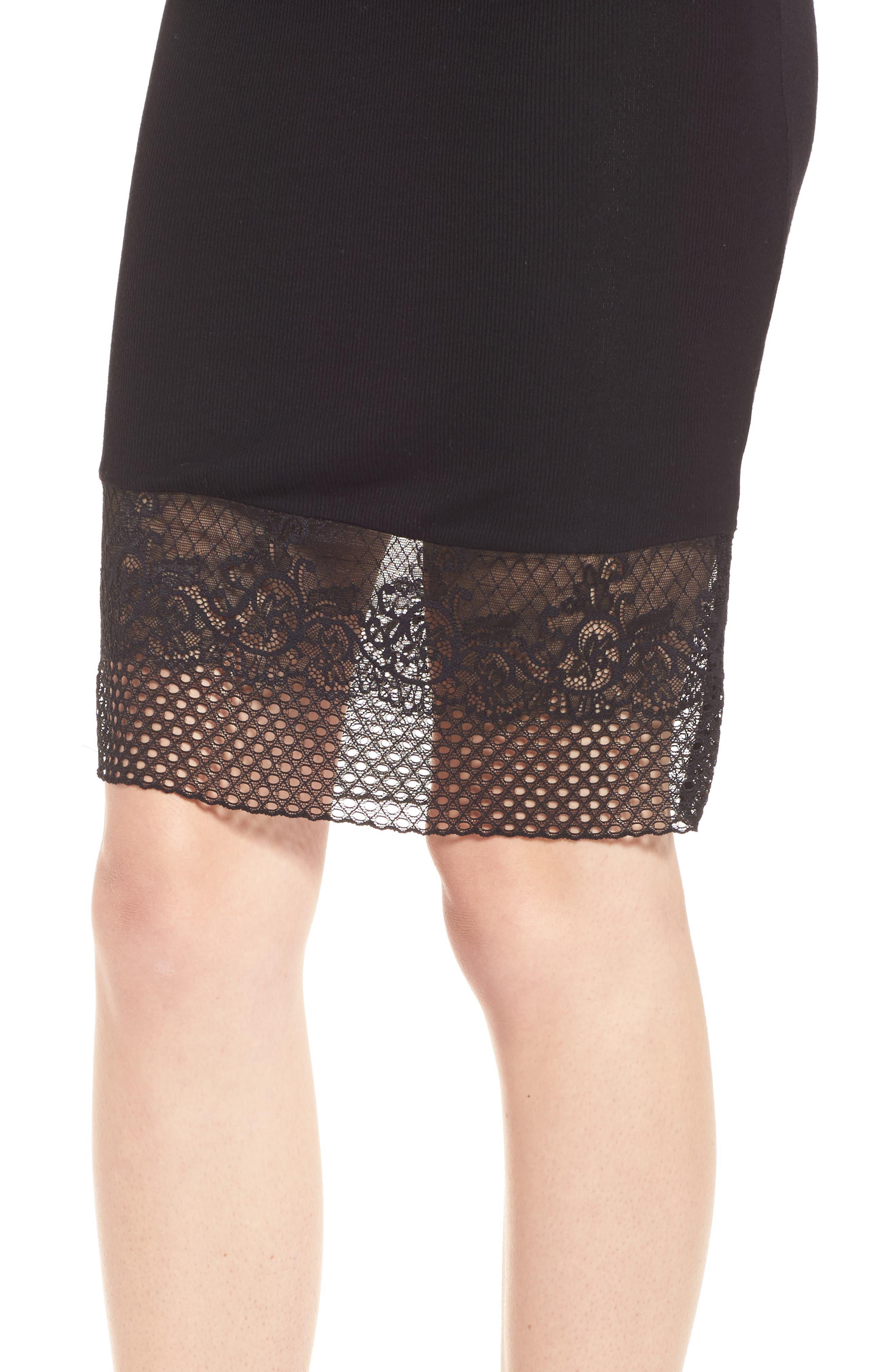 Lace Hem Tank Dress,                             Alternate thumbnail 4, color,                             Black