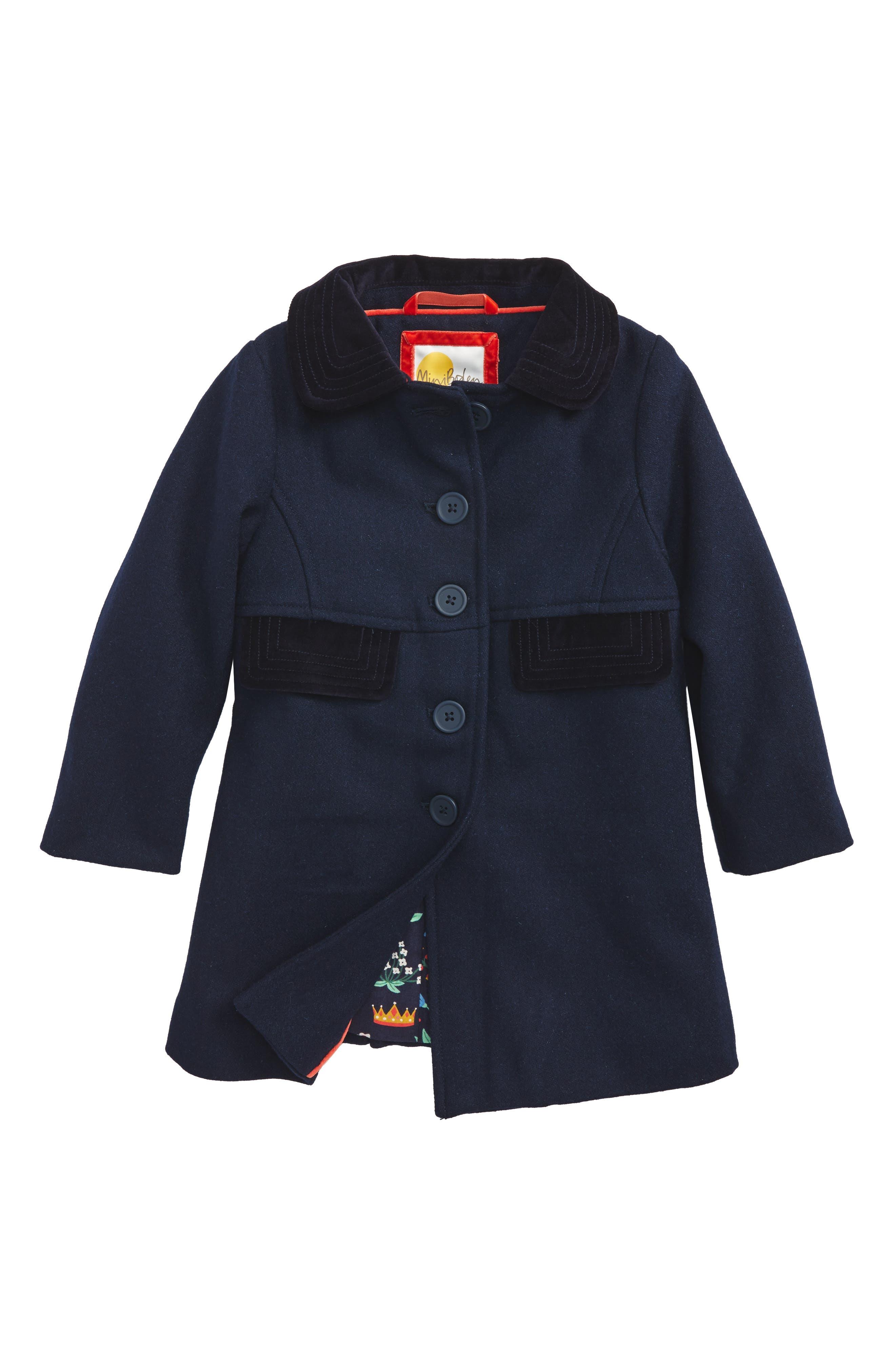 Mini Boden Velvet Collar Peacoat (Toddler Girls, Little Girls & Big Girls)