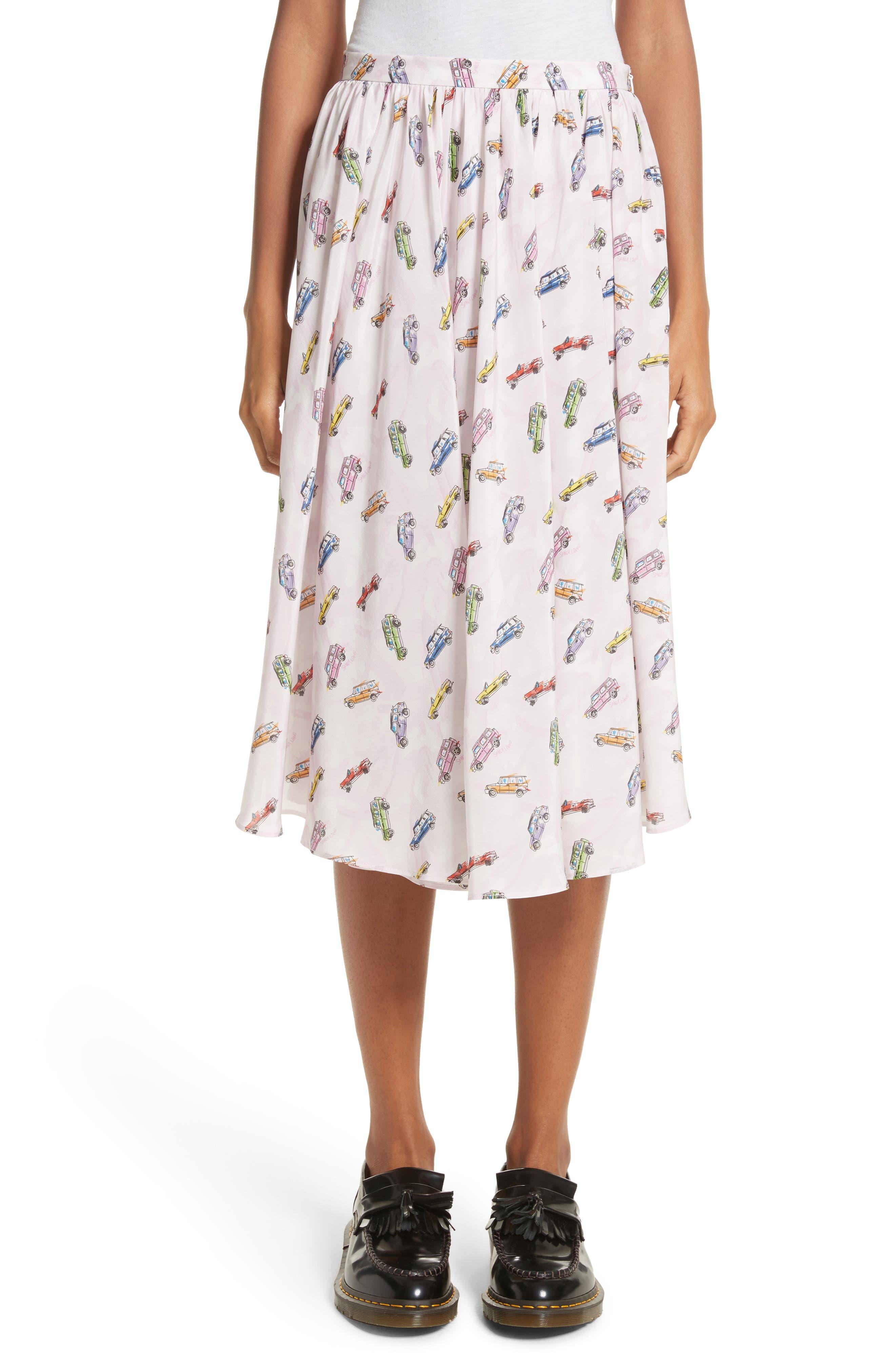 Sandy Liang Linguini Car Print Silk Skirt