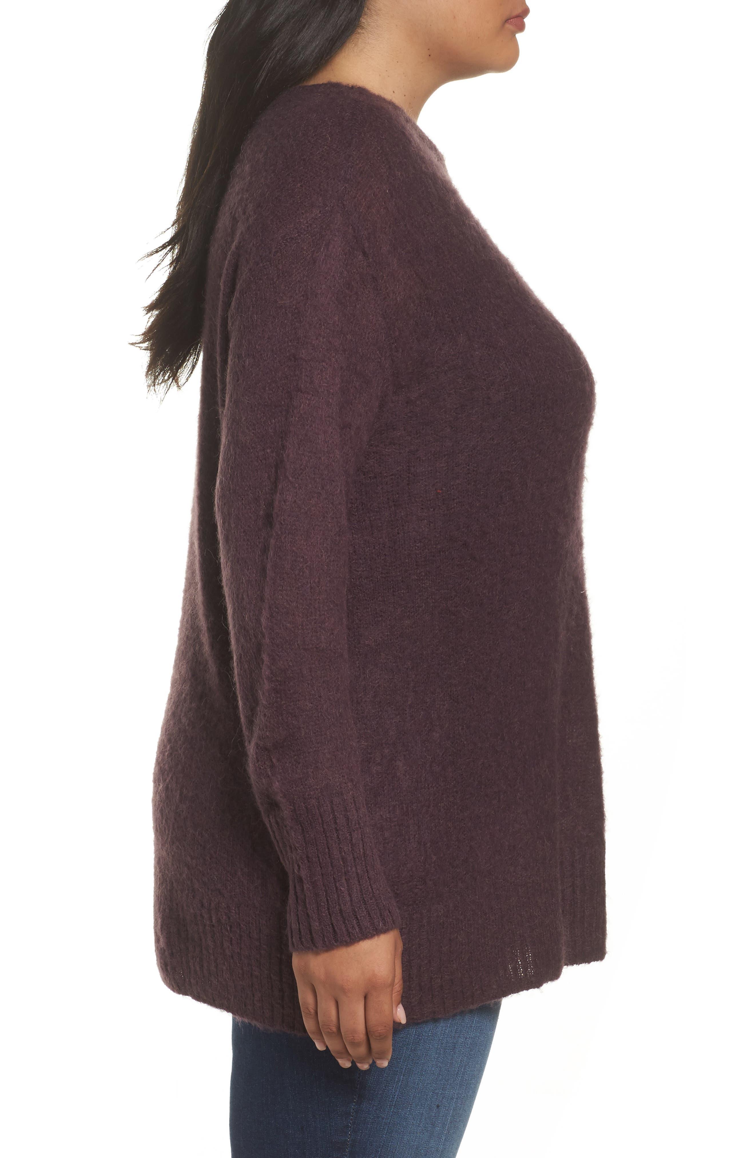 Long Sleeve Brushed Sweater,                             Alternate thumbnail 3, color,                             Purple Plum