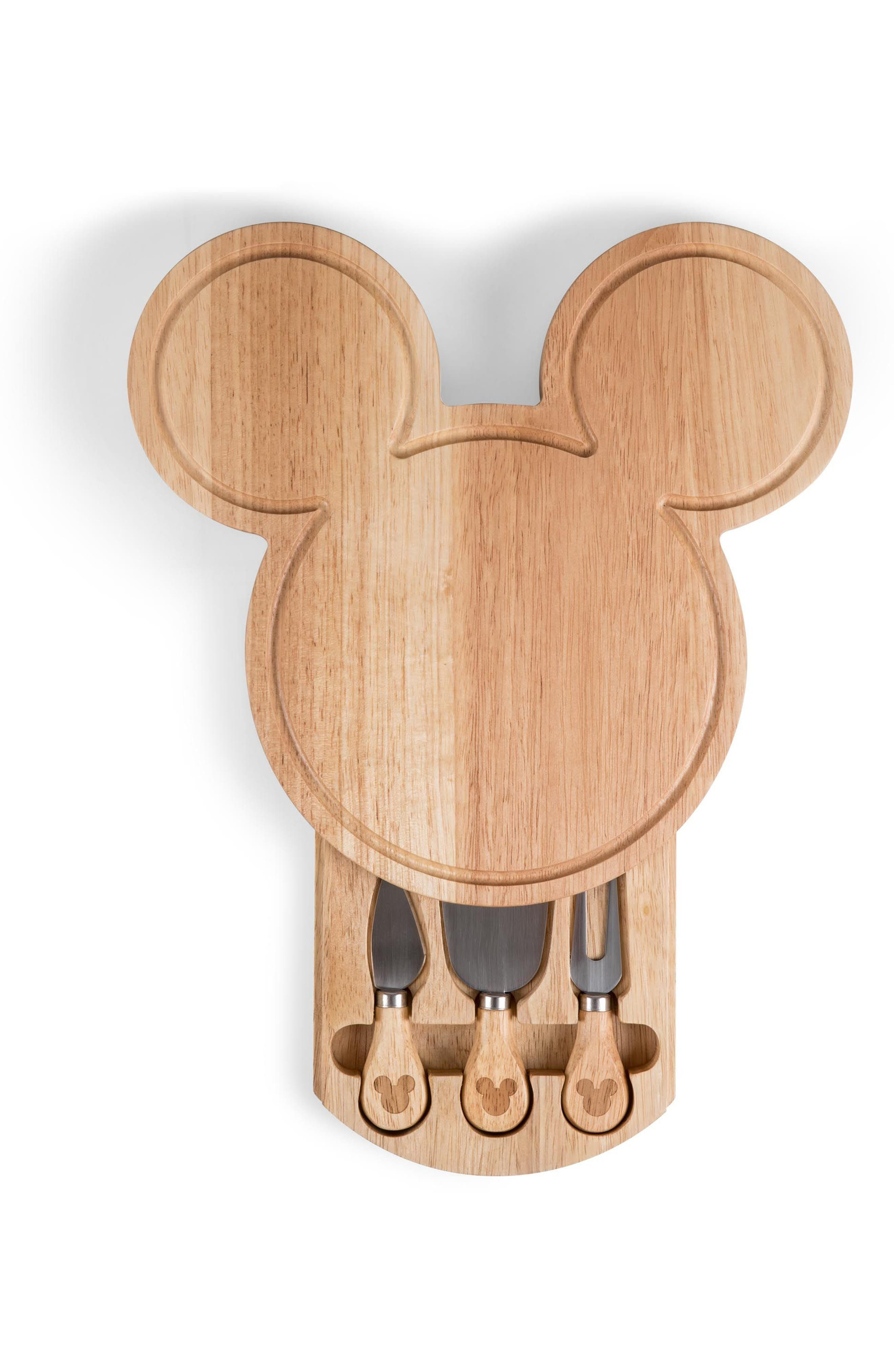 Disney - Mickey Mouse 4-Piece Cheese Board Set,                         Main,                         color, Brown