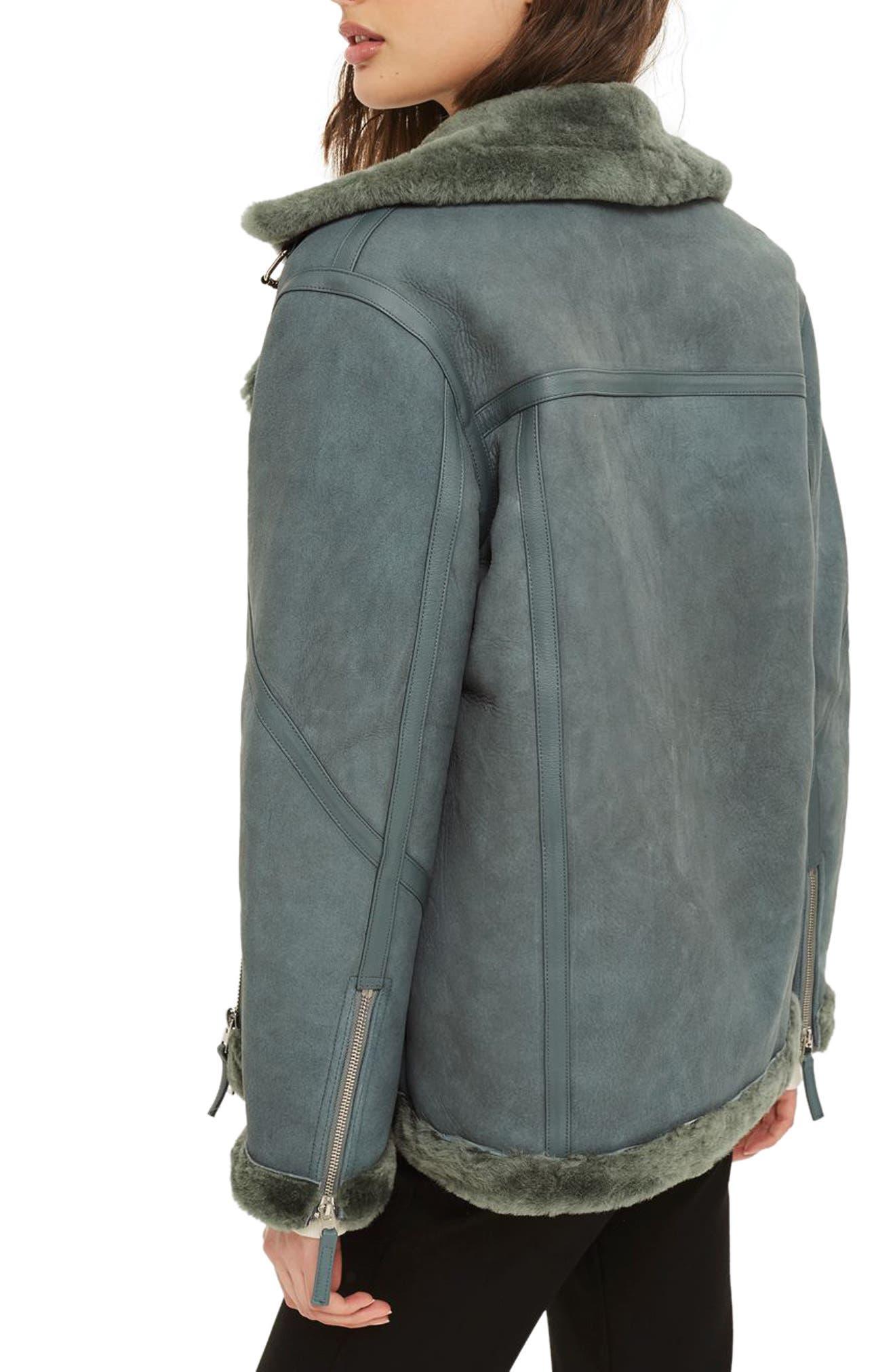 Bailey Genuine Shearling Biker Jacket,                             Alternate thumbnail 3, color,                             Dark Green Multi
