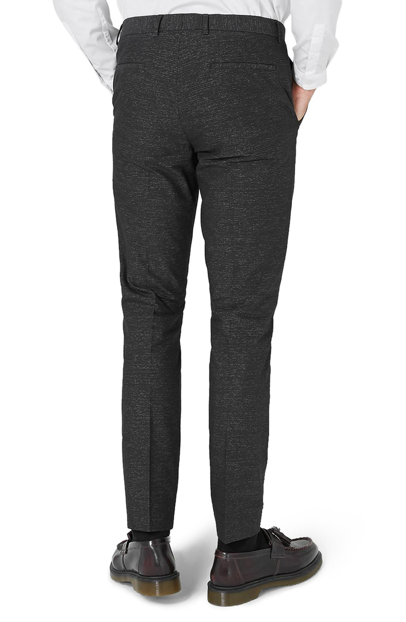 Skinny Fit Stripe Cotton Suit Pants,                             Alternate thumbnail 3, color,                             Black