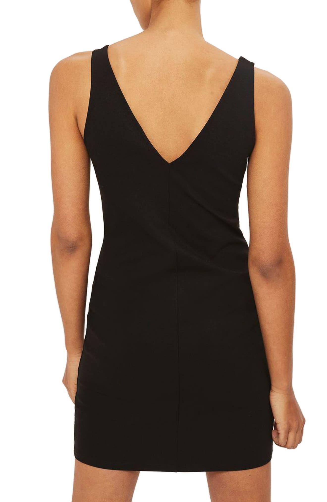 Contrast Stitch Body-Con Dress,                             Alternate thumbnail 2, color,                             Black