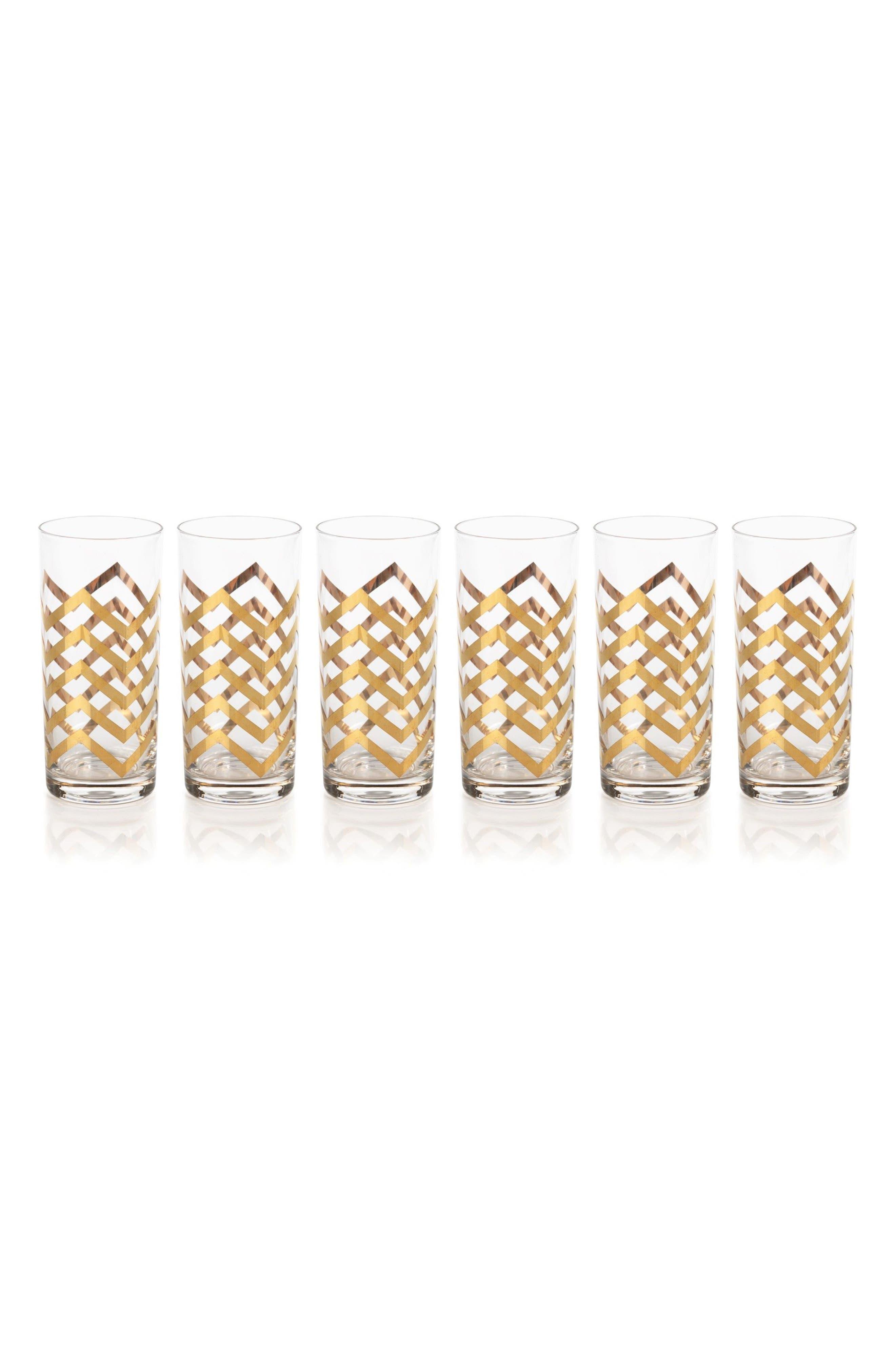 Seraphina Set of 6 Highball Glasses,                             Main thumbnail 1, color,                             Gold