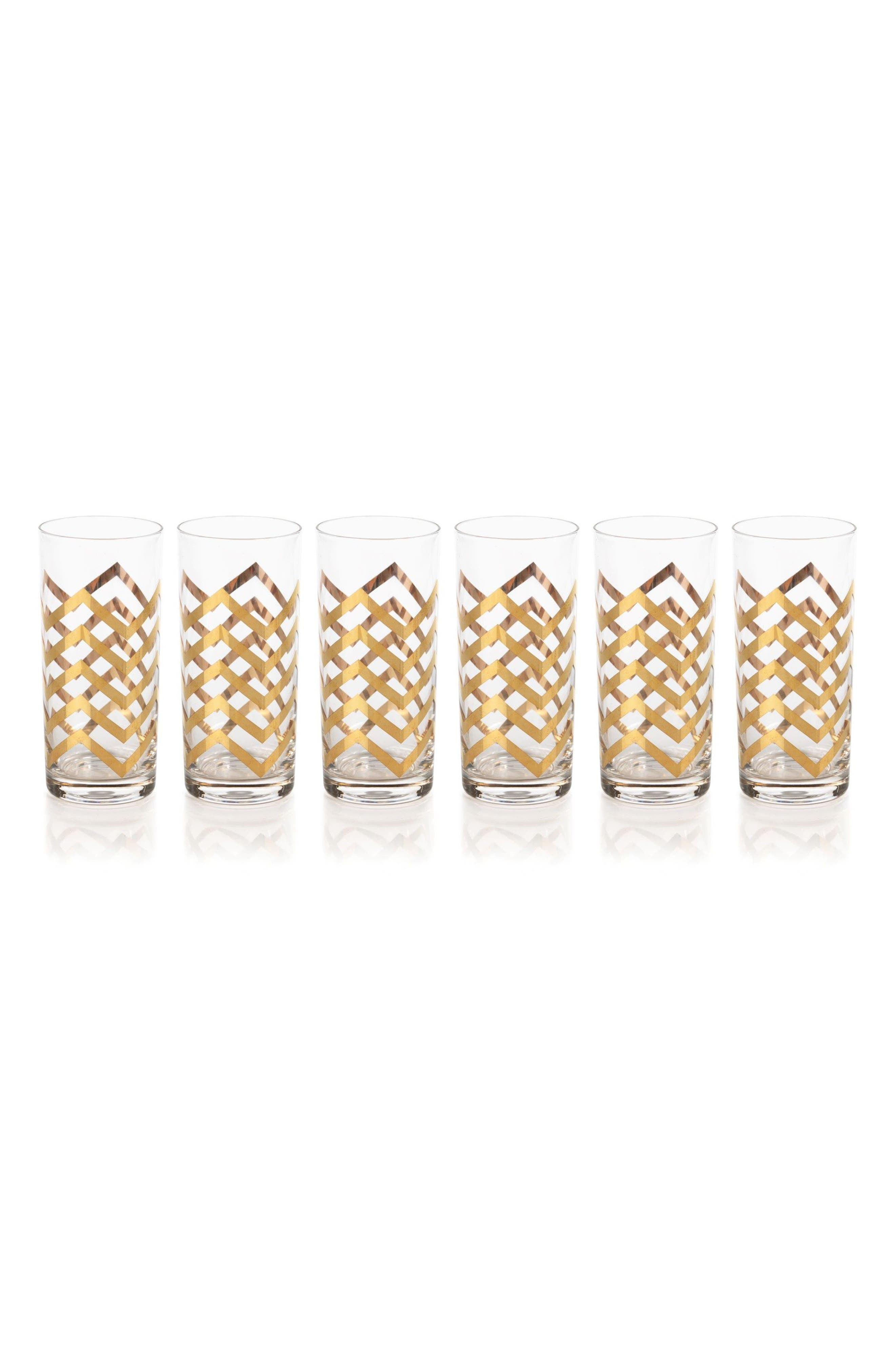 Seraphina Set of 6 Highball Glasses,                         Main,                         color, Gold