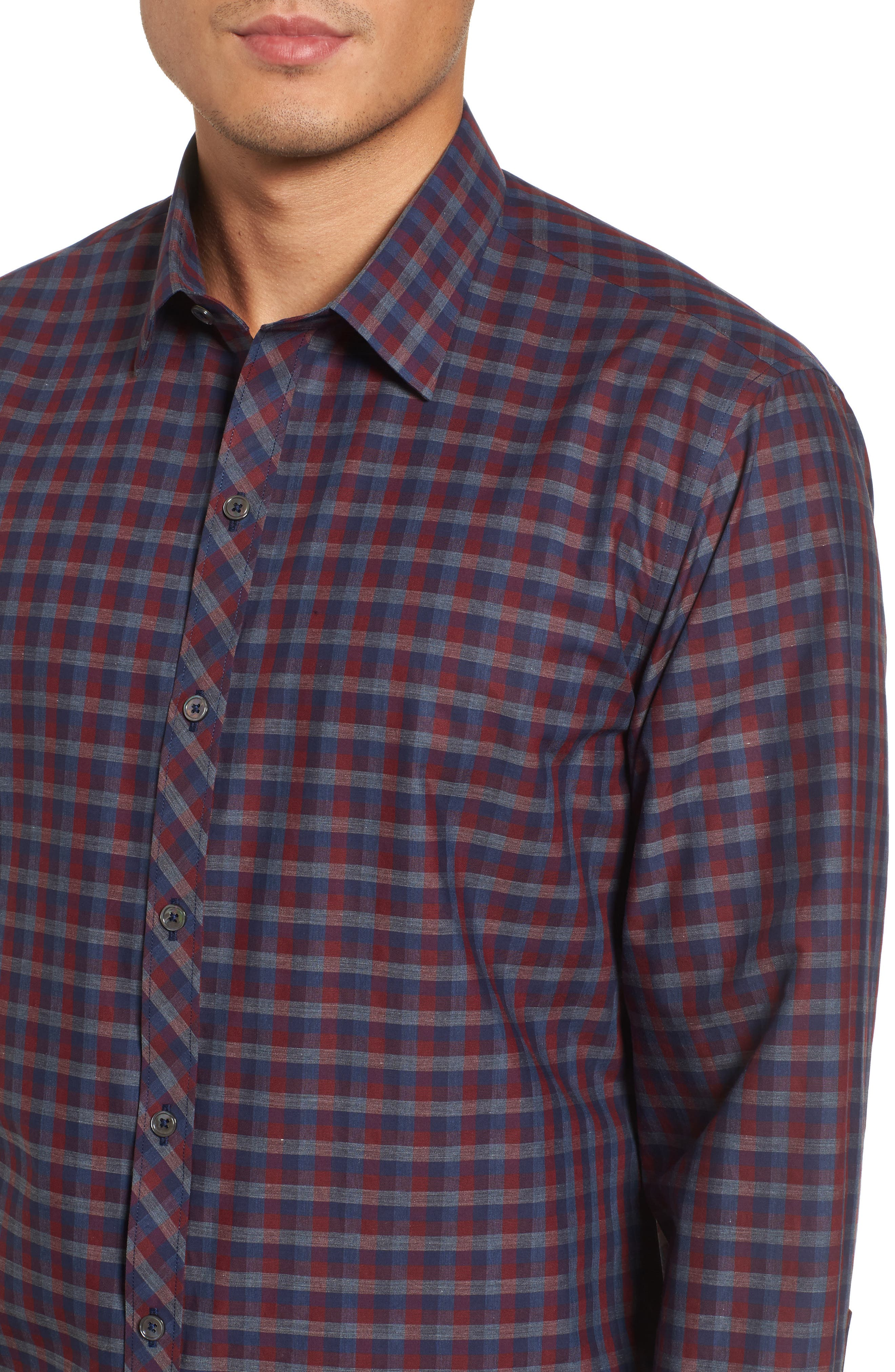 Dane Check Sport Shirt,                             Alternate thumbnail 4, color,                             Red