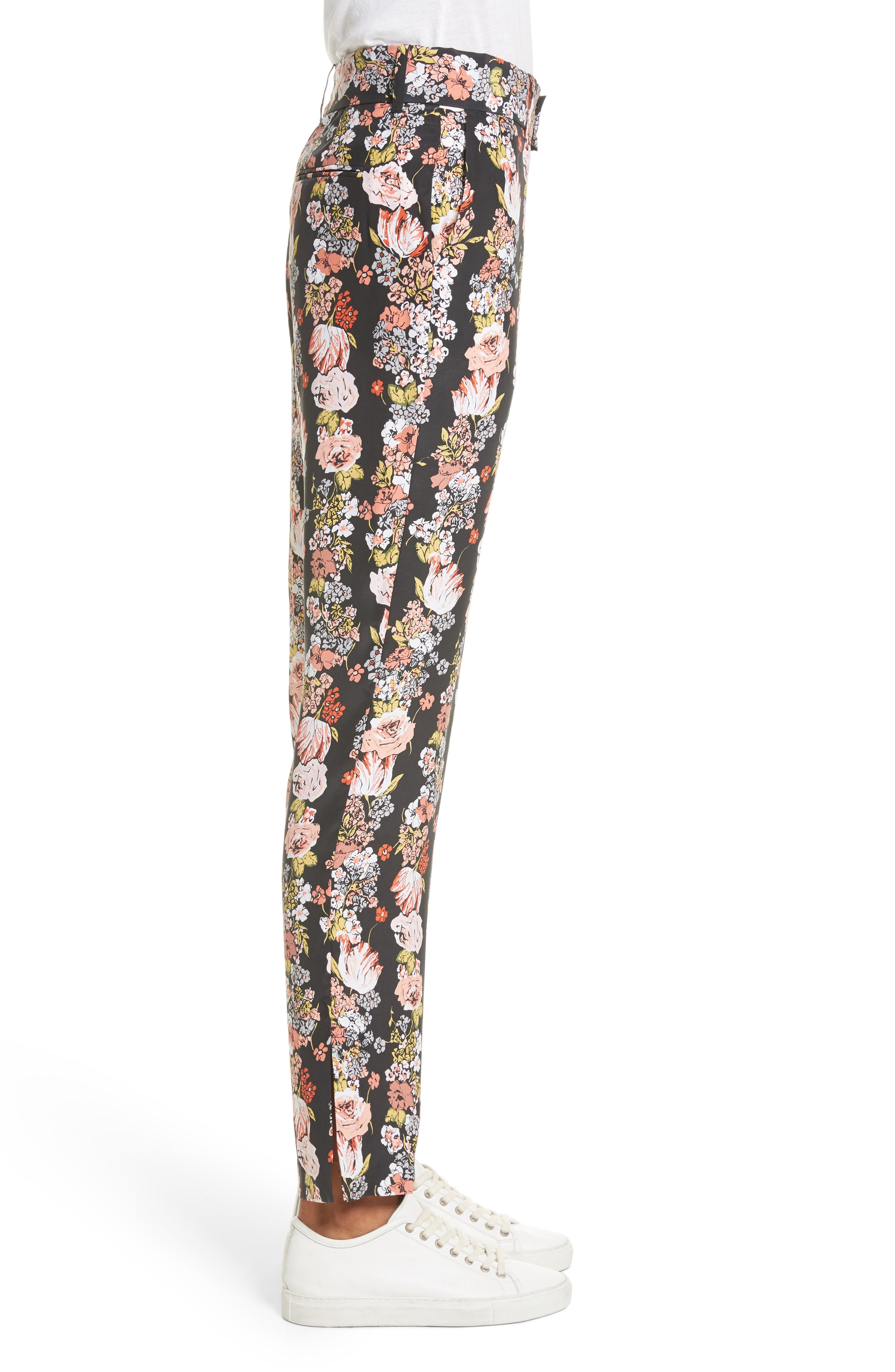 Florence Floral Silk Trousers,                             Alternate thumbnail 3, color,                             True Black Multi