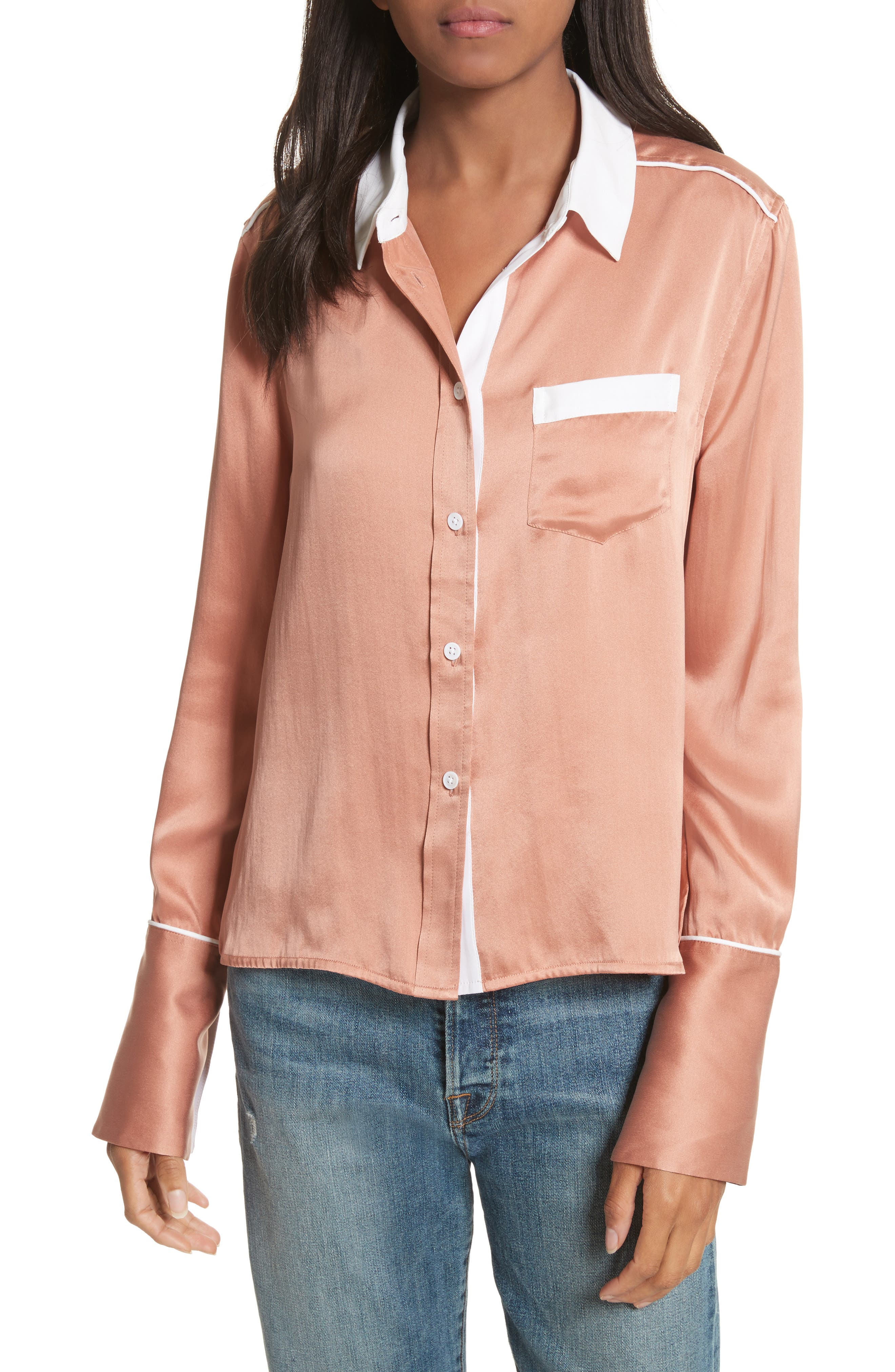 Huntley Contrast Silk Shirt,                         Main,                         color, Wilted Rose