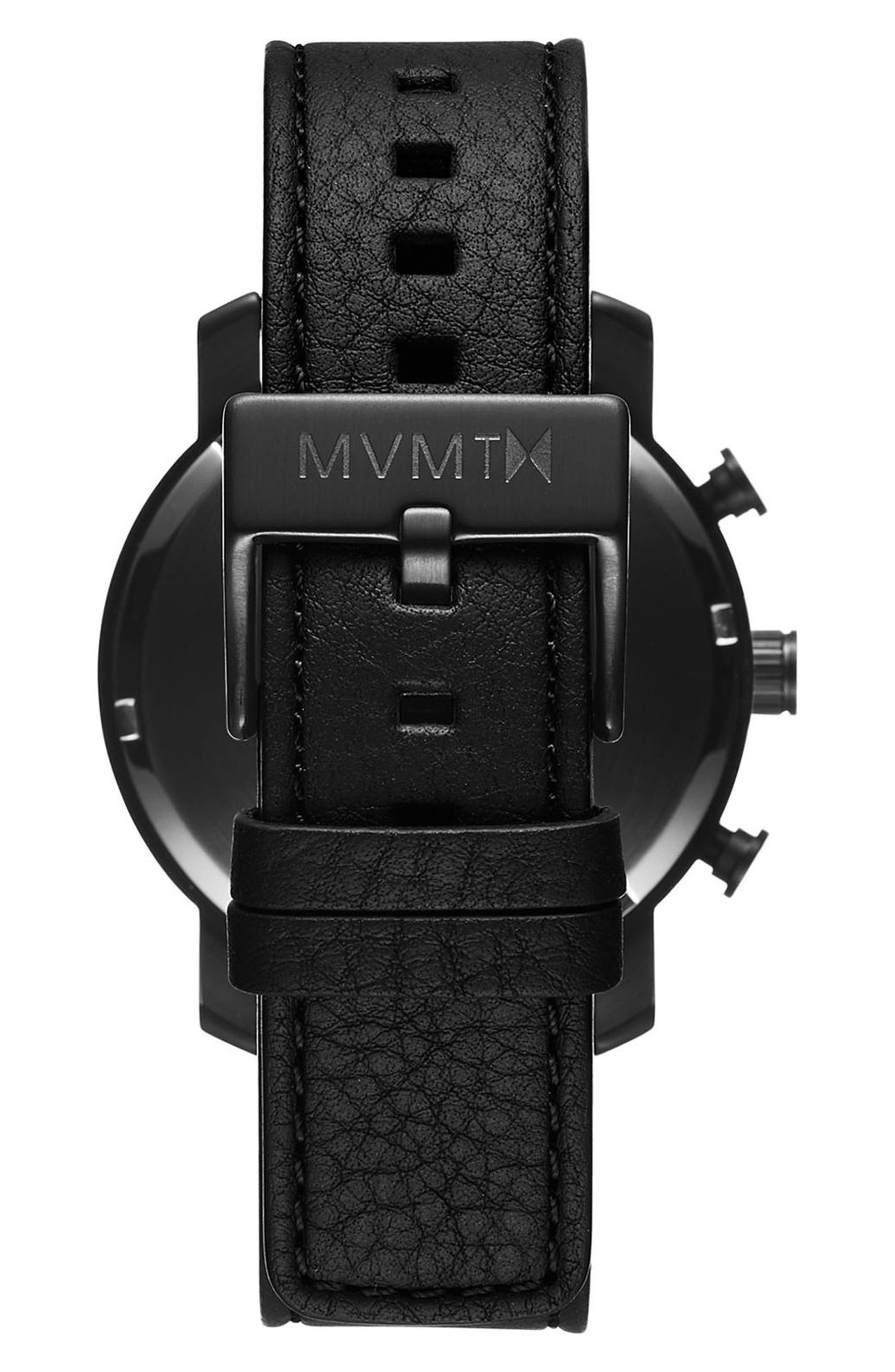 Chrono Chronograph Leather Strap Watch, 40mm,                             Alternate thumbnail 2, color,                             All Black