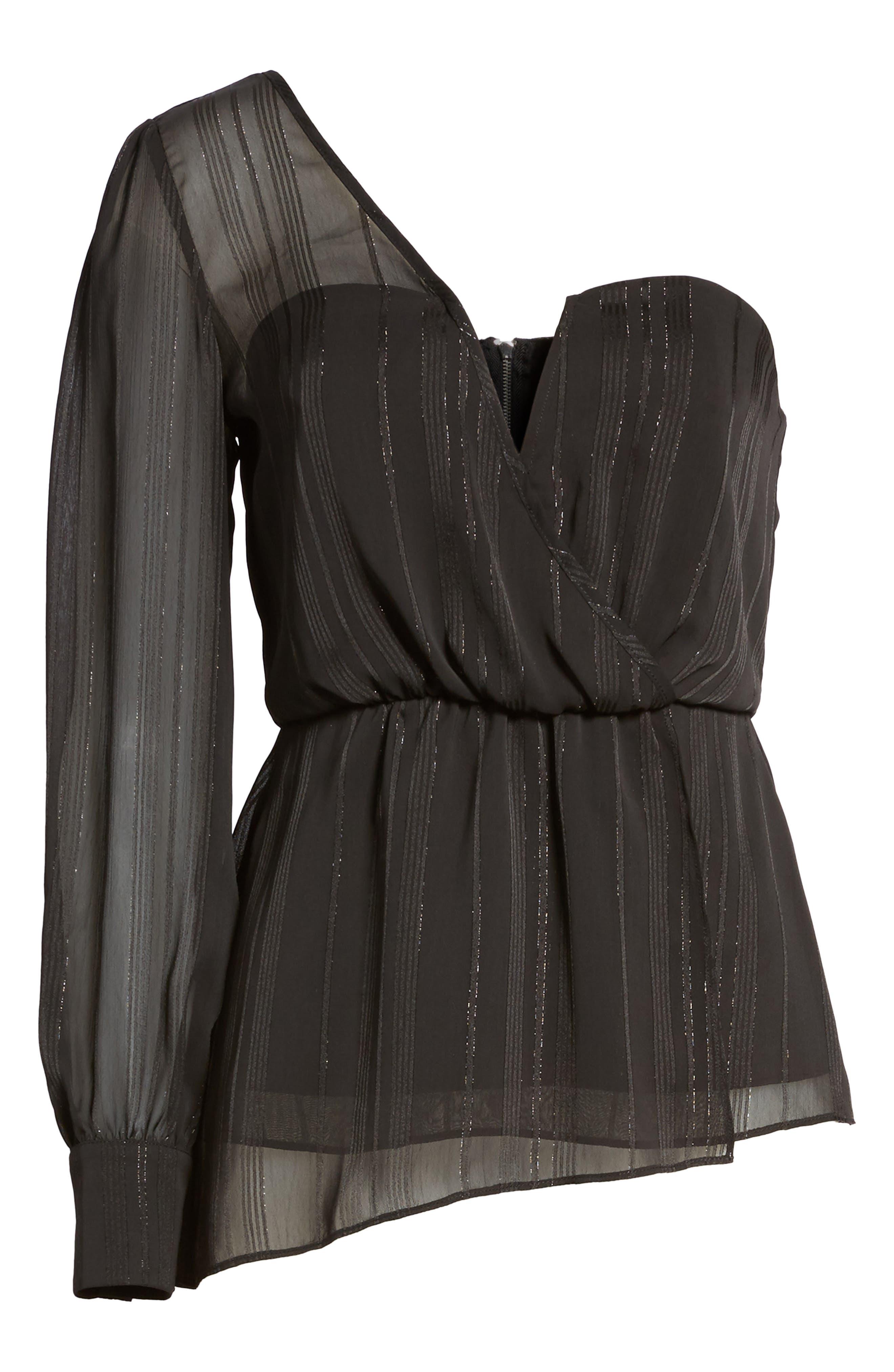 One Shoulder Top,                             Alternate thumbnail 6, color,                             Black