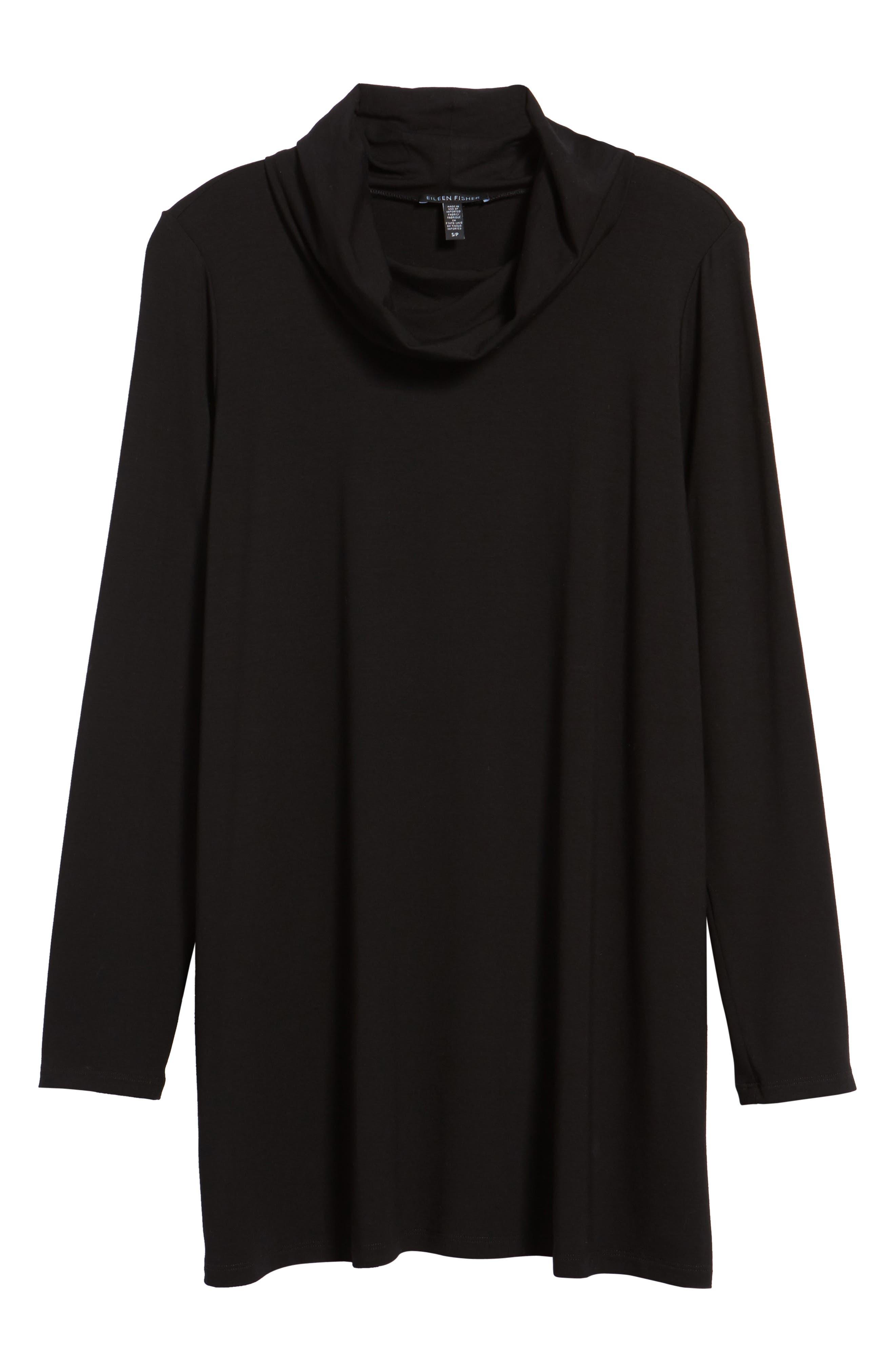Drape Neck Jersey Top,                             Main thumbnail 1, color,                             Black