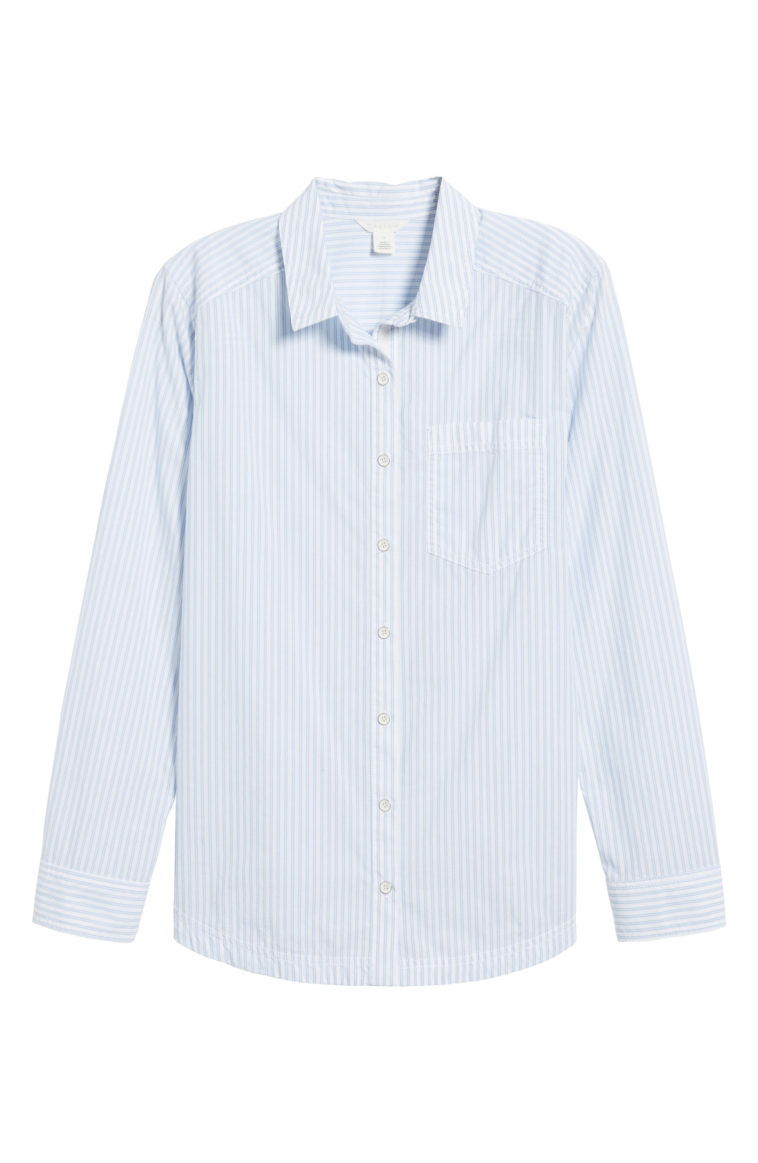 Button Front Pocket Shirt,                             Alternate thumbnail 6, color,                             White- Blue Stripe