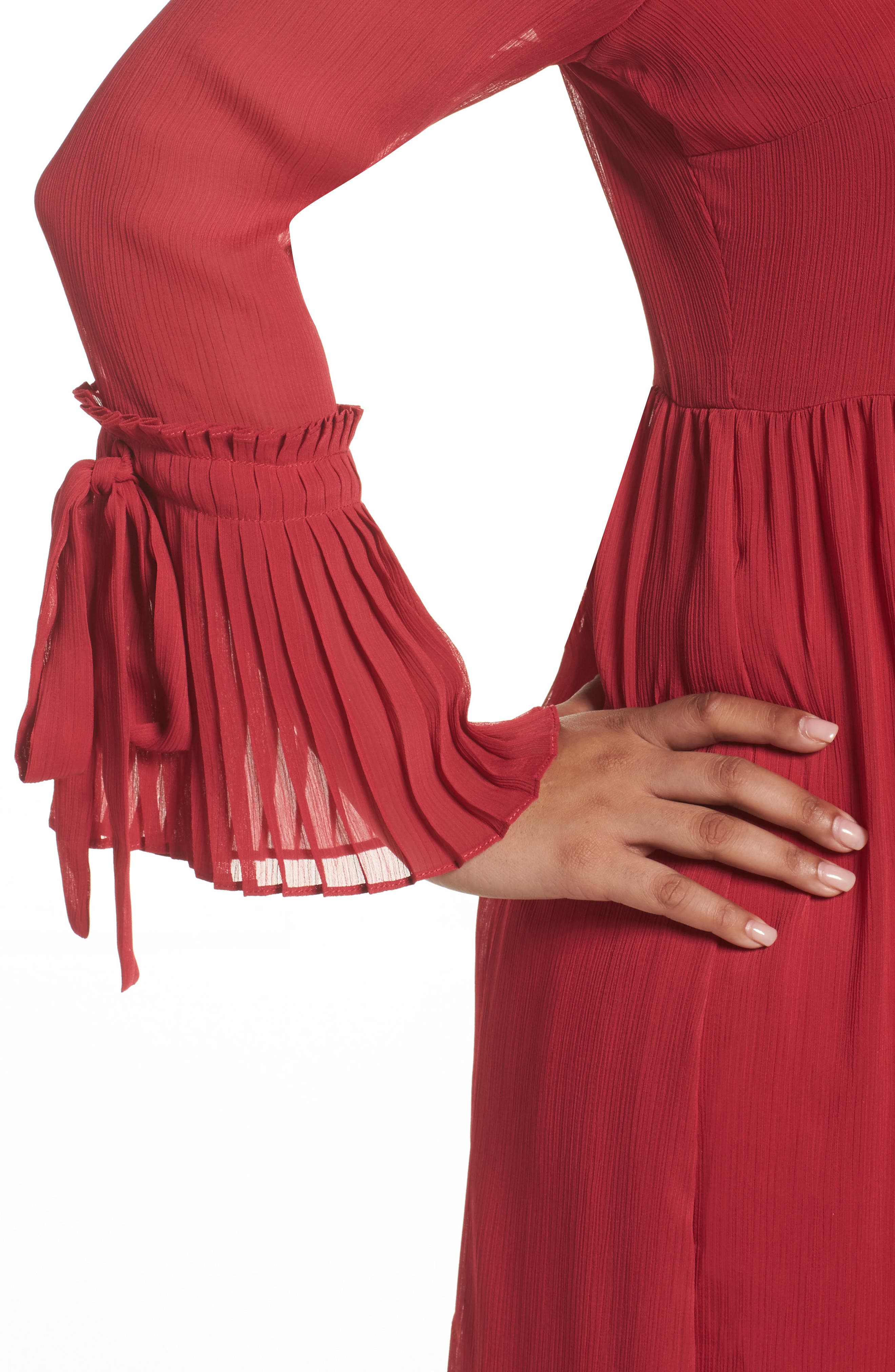 Pleat Cuff Fit & Flare Dress,                             Alternate thumbnail 5, color,                             Pink