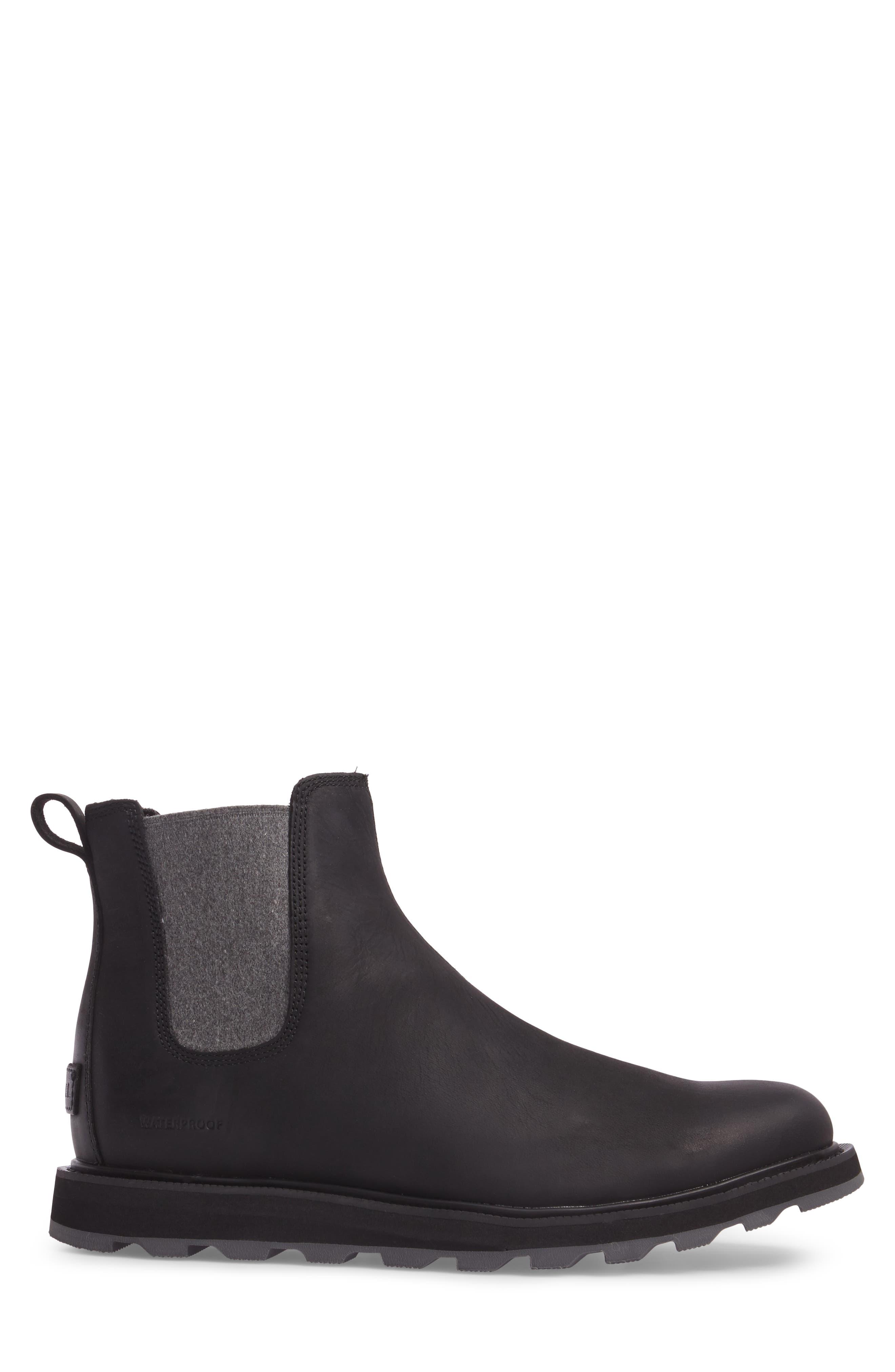 Madson Waterproof Chelsea Boot,                             Alternate thumbnail 3, color,                             Black
