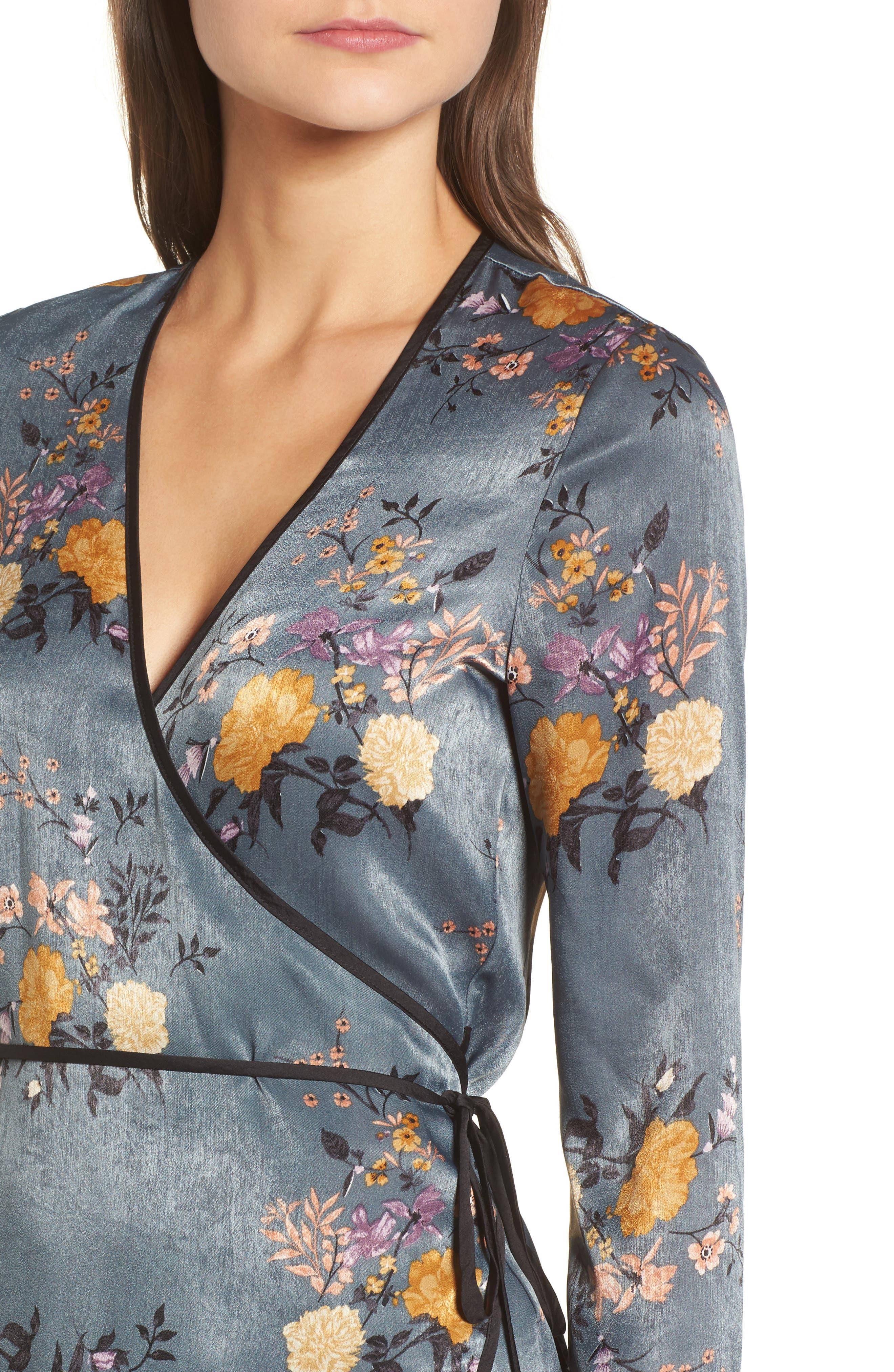 Satin Wrap Kimono,                             Alternate thumbnail 4, color,                             Storm Blue Print
