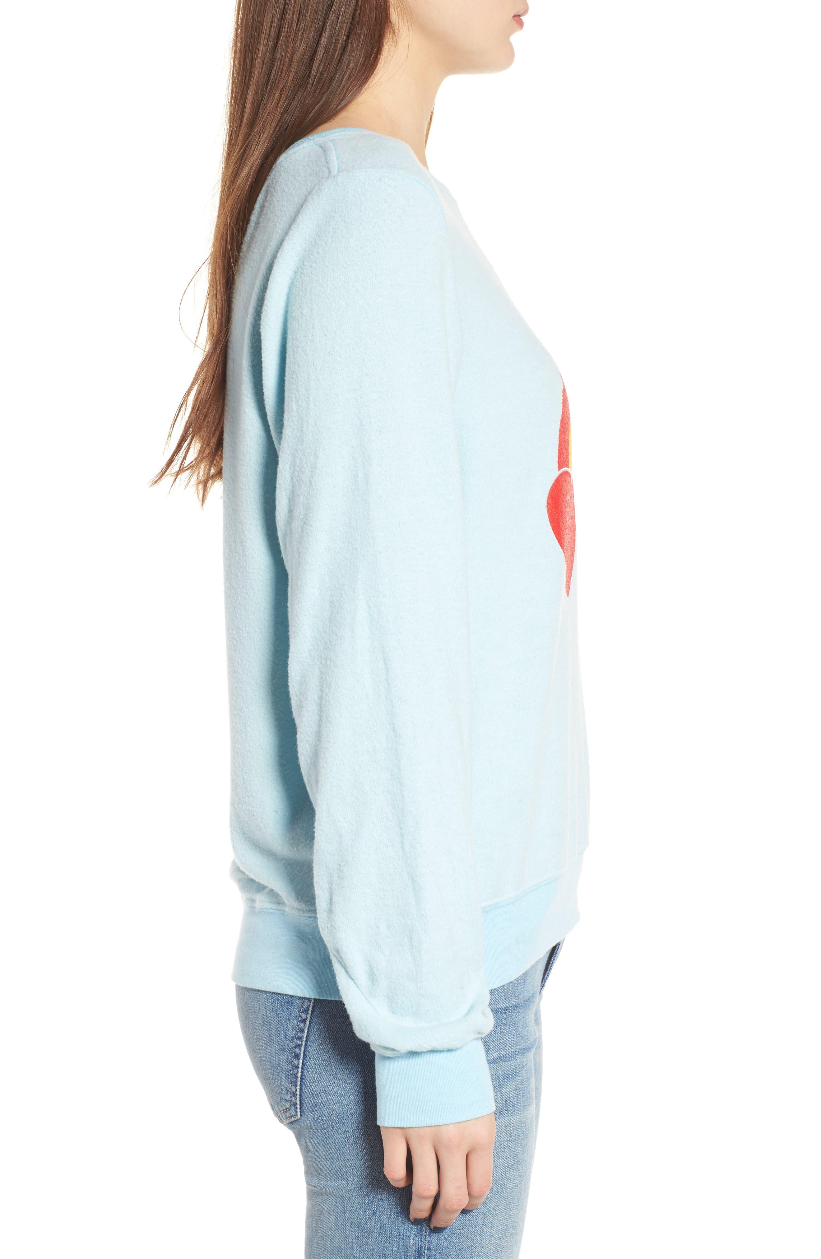 Rainbow Bright Sweatshirt,                             Alternate thumbnail 3, color,                             Honolulu Blue