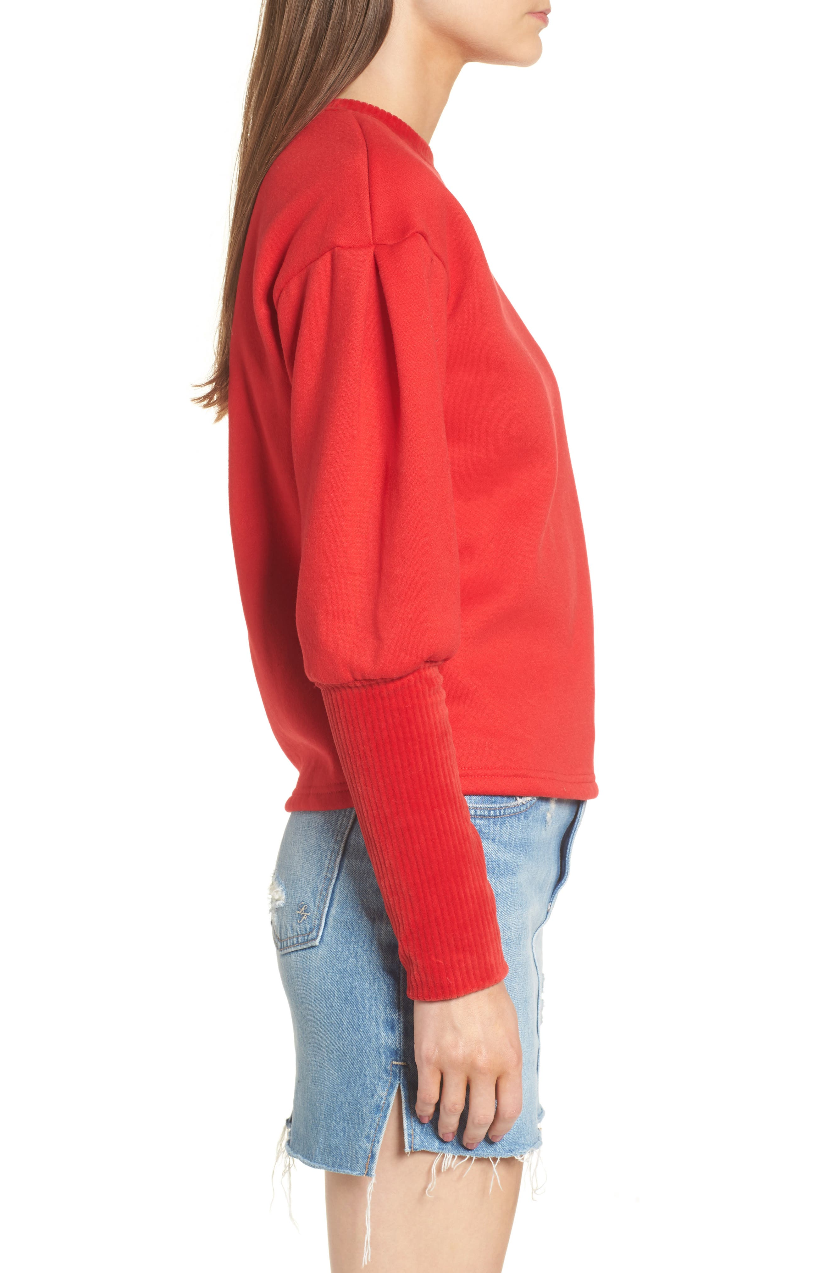 Rib Cuff Sweater,                             Alternate thumbnail 4, color,                             Red