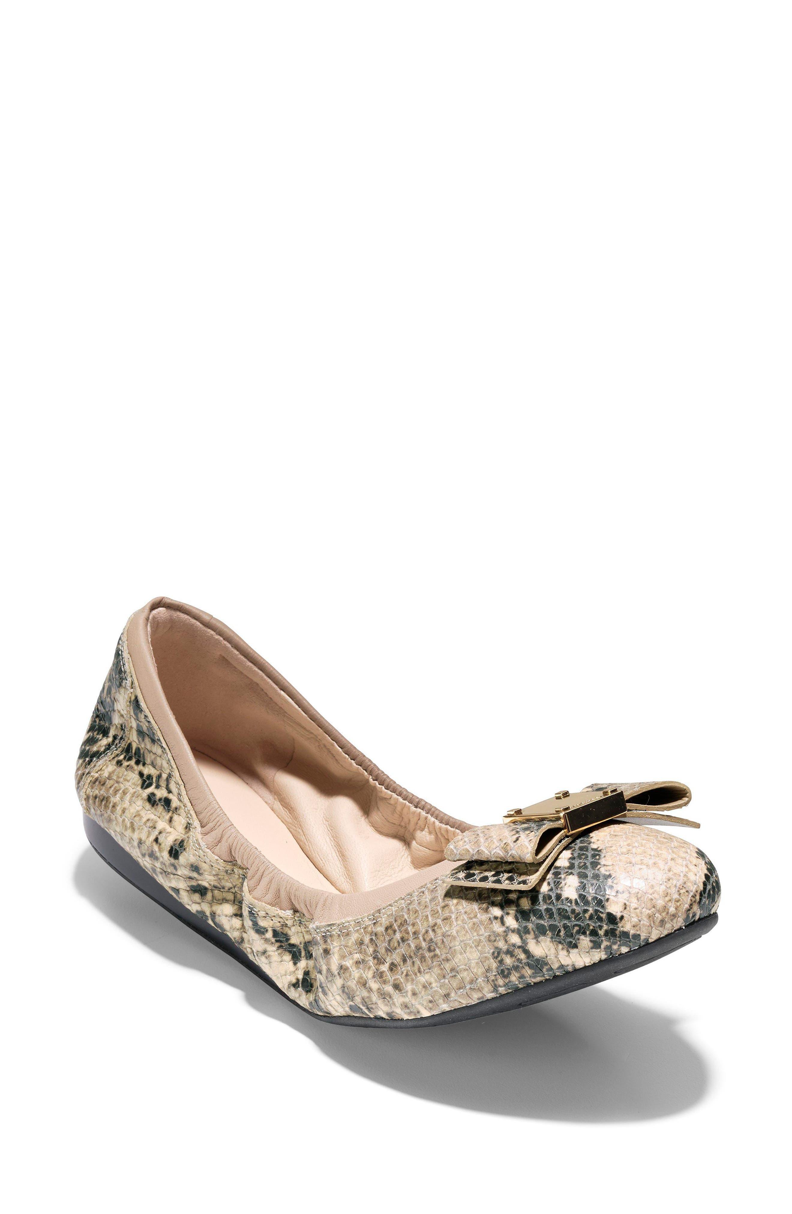 'Tali' Bow Ballet Flat,                             Main thumbnail 1, color,                             Roccia Snake Print Leather