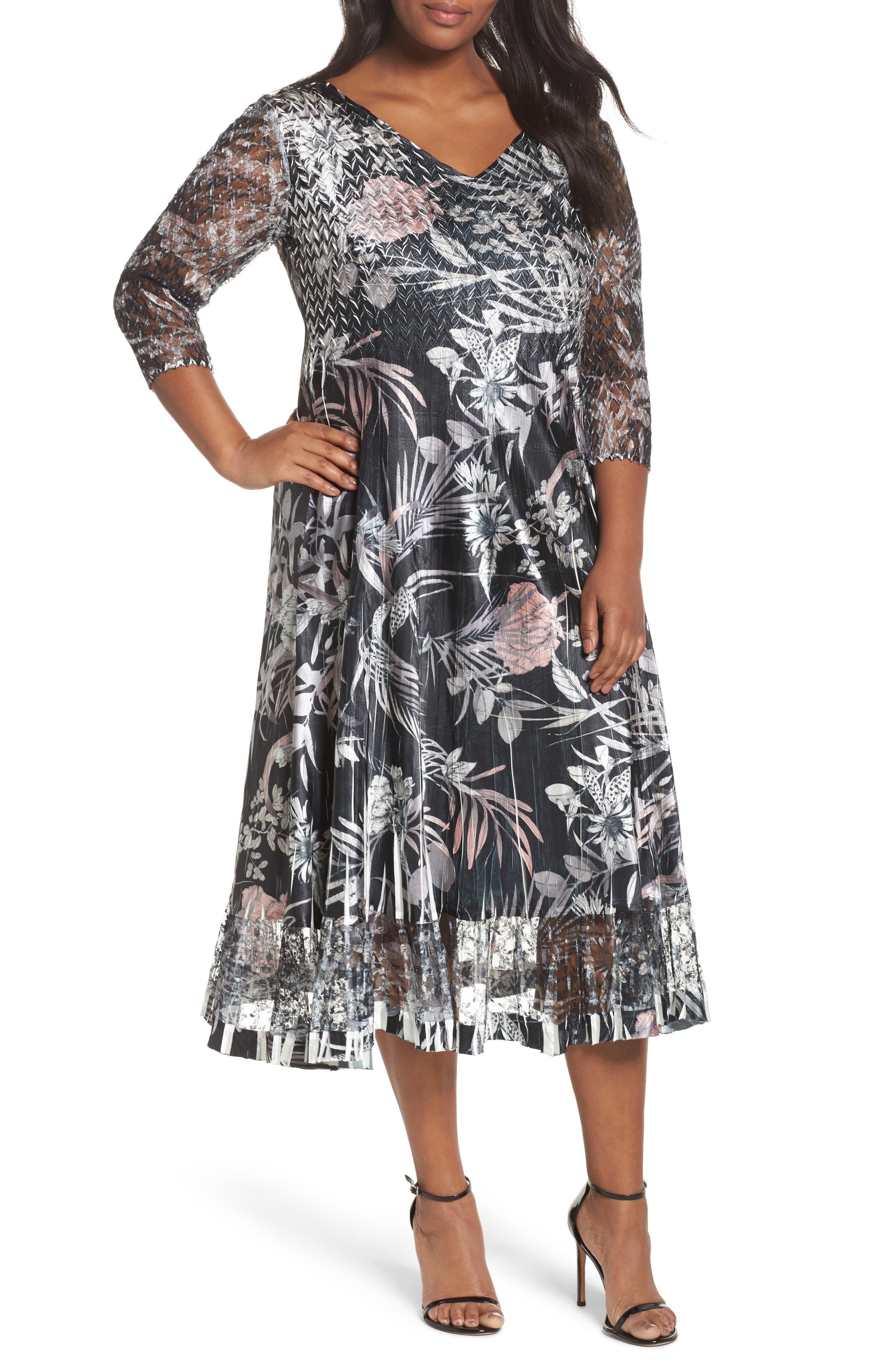 Komarov Floral Print Charmeuse Midi Dress (Plus Size)